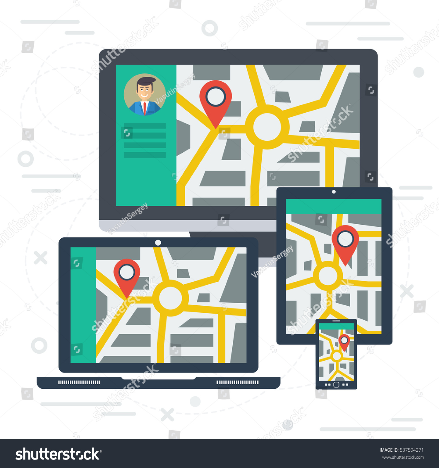vector concept of travel route on various devices tracking of cargo or location label on