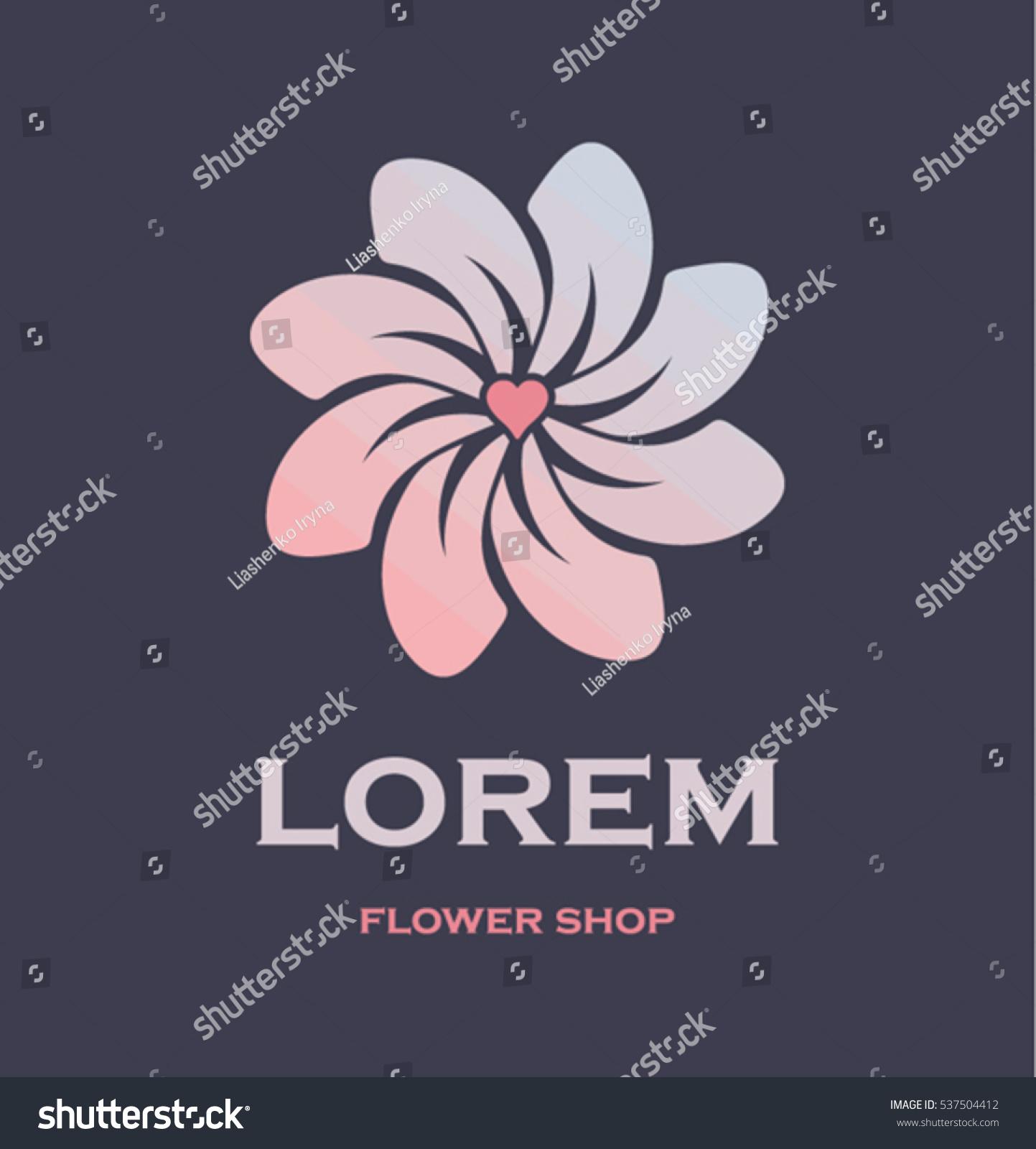 Flower Symbol Heart Middle Idea Logo Stock Vector 537504412