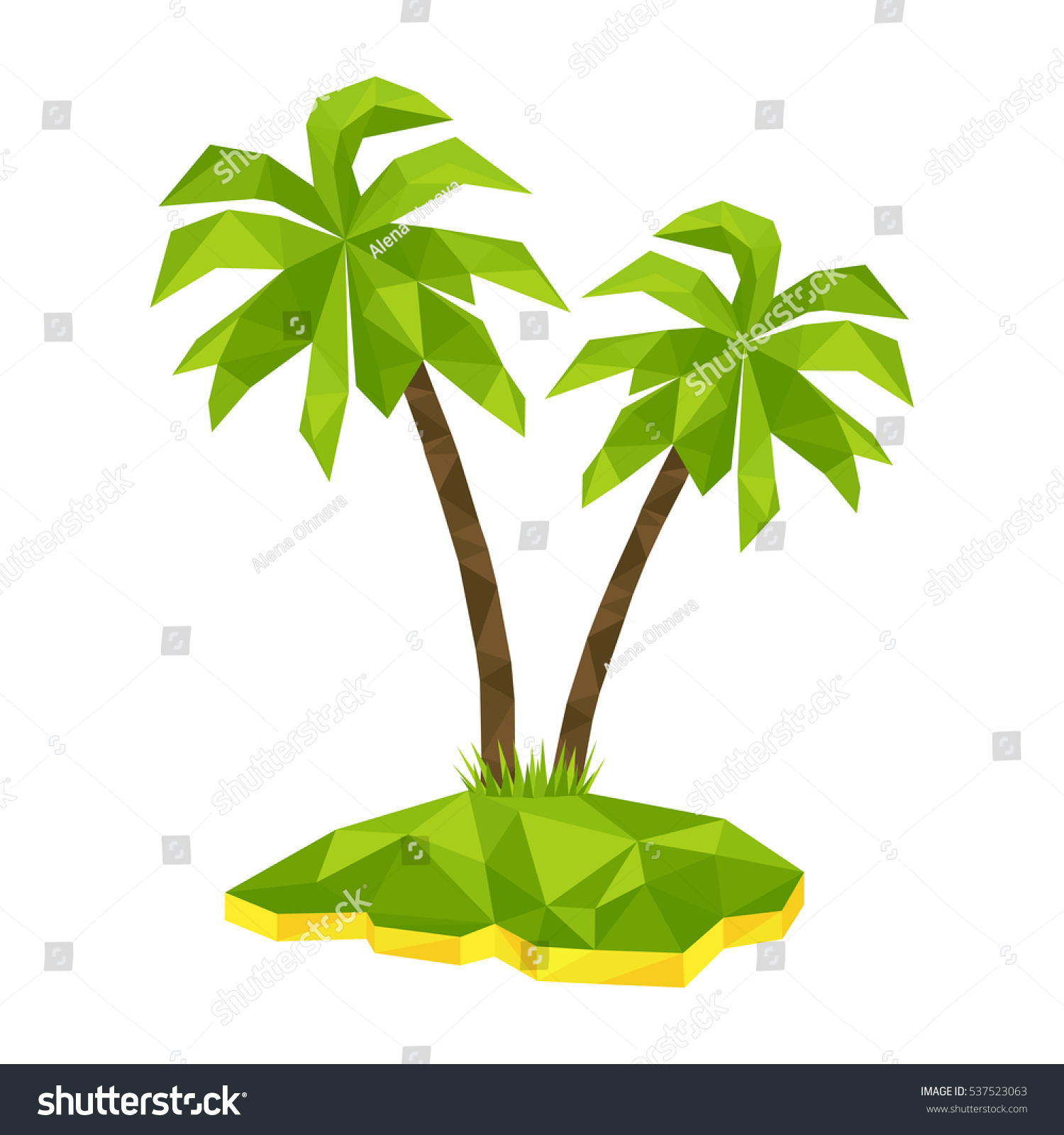 tropical island two polygon palm trees stock vector royalty free