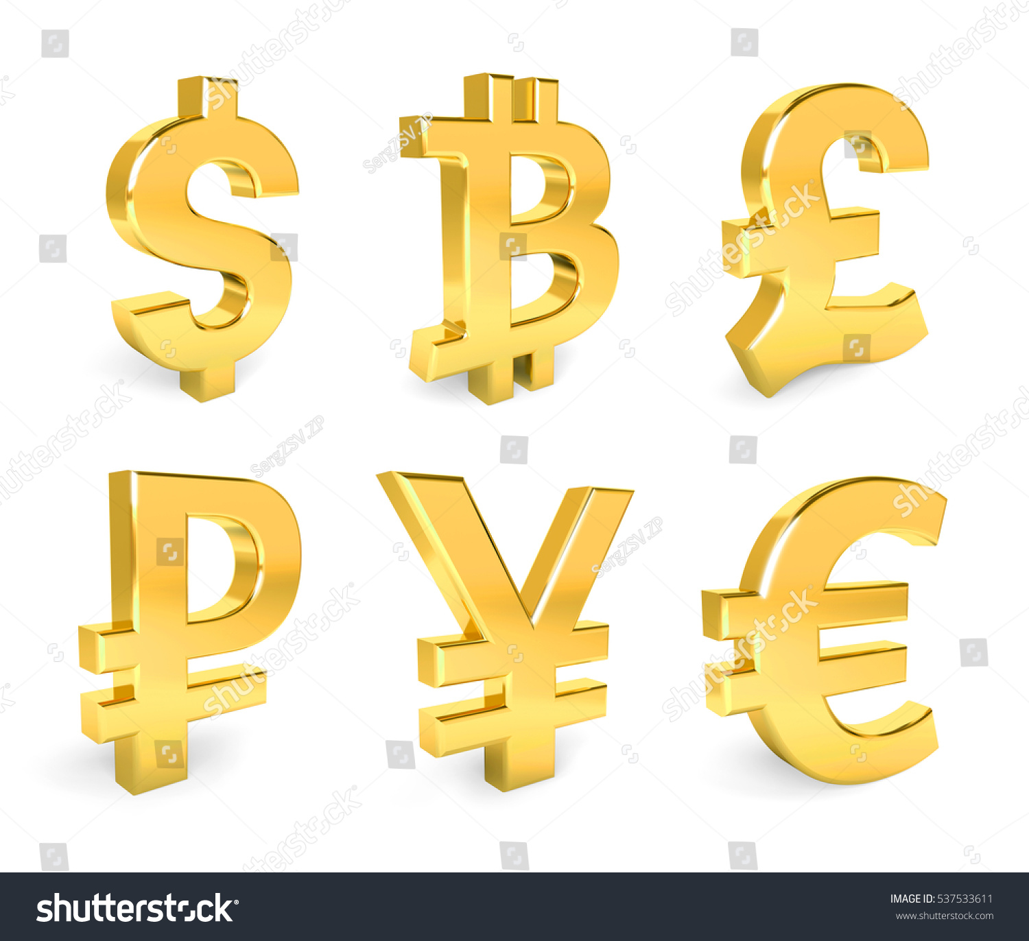 Dollar Euro Pound Yen Bitcoin Ruble Stock Illustration 537533611