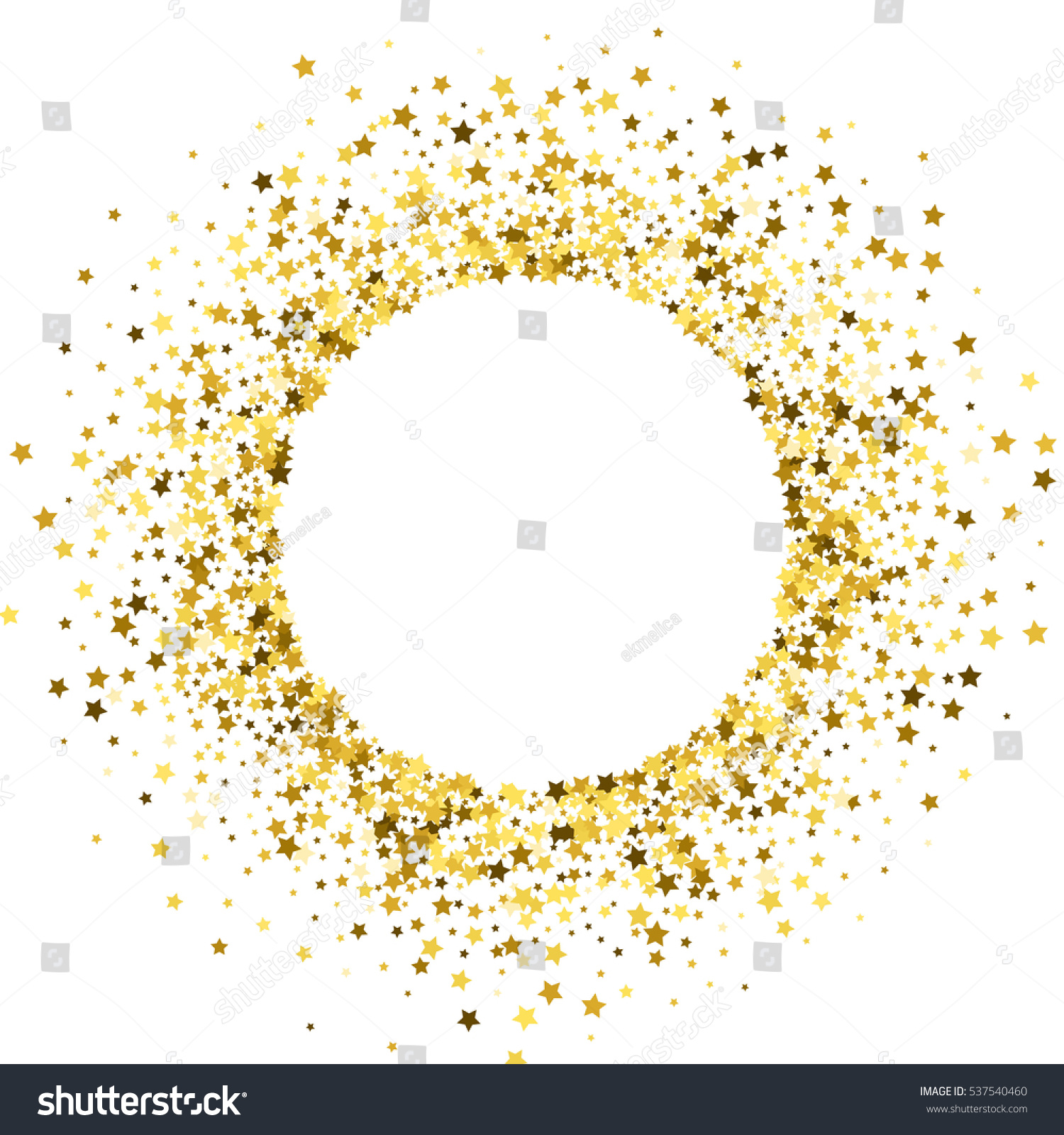 Round Gold Frame Border Random Scatter Stock Illustration