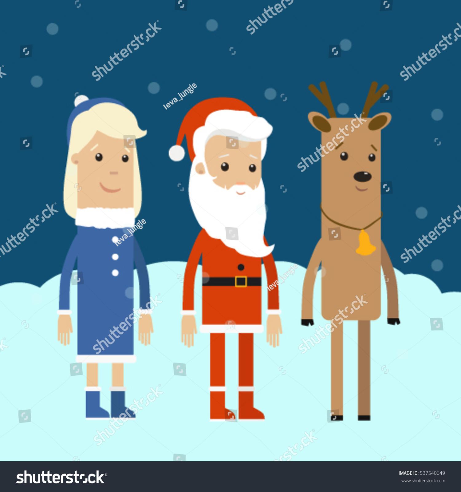 Christmas Characters Santa Claus Mrs Claus Reindeer