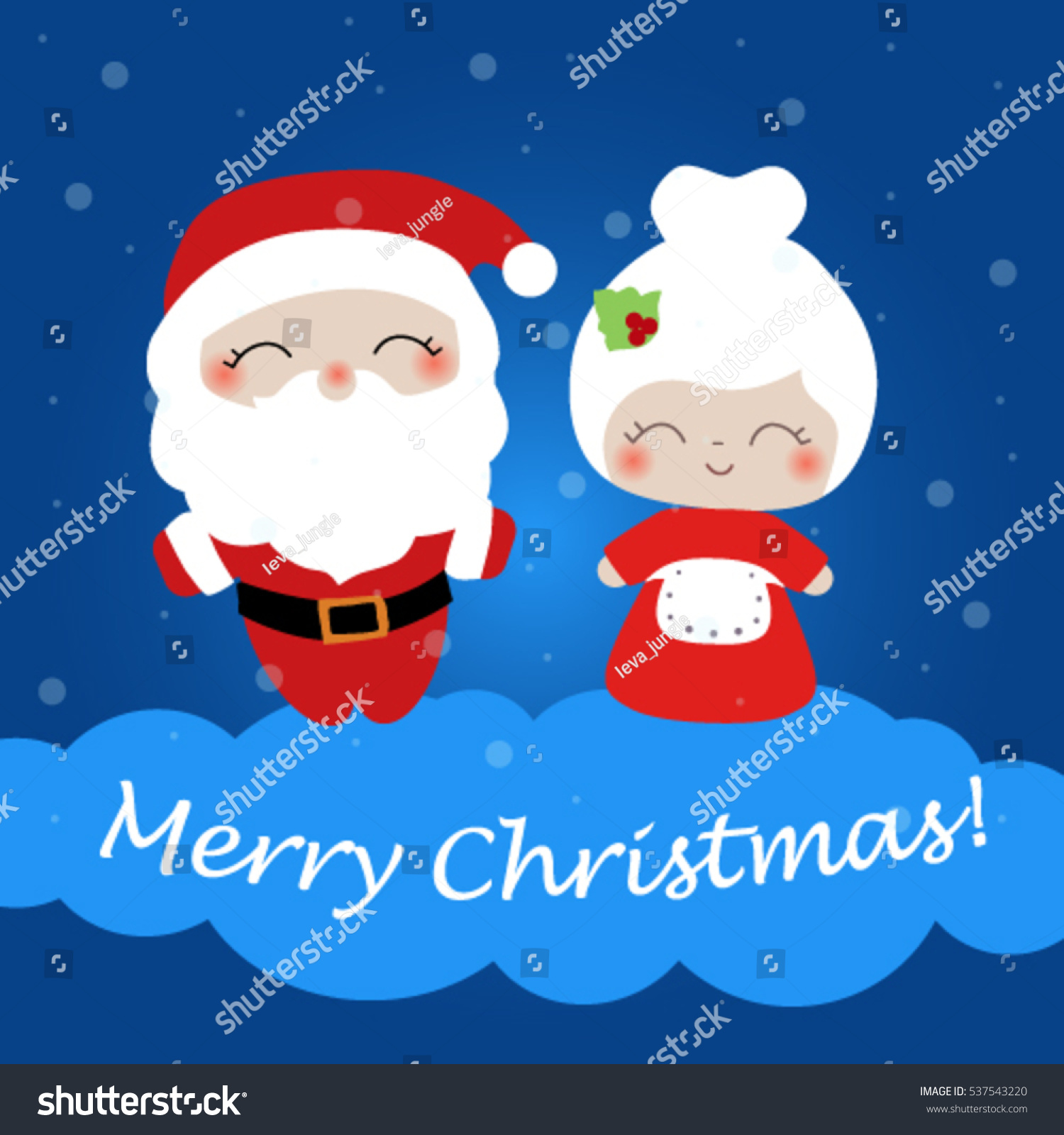 Christmas Card With Merry Christmas Words. Santa Claus And Mrs. Claus  Christmas Card Word