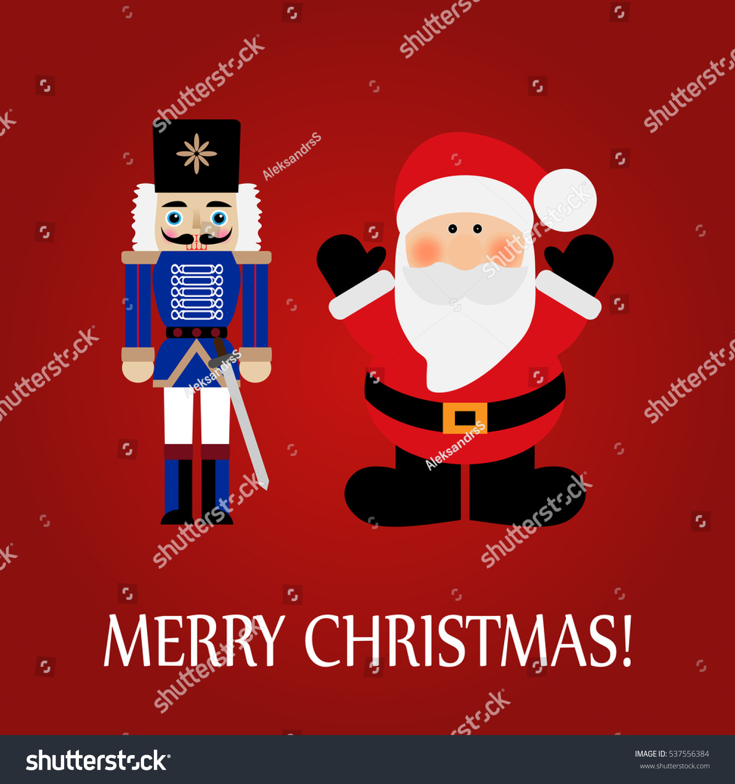 Vector illustration of a santa claus and nutcracker with
