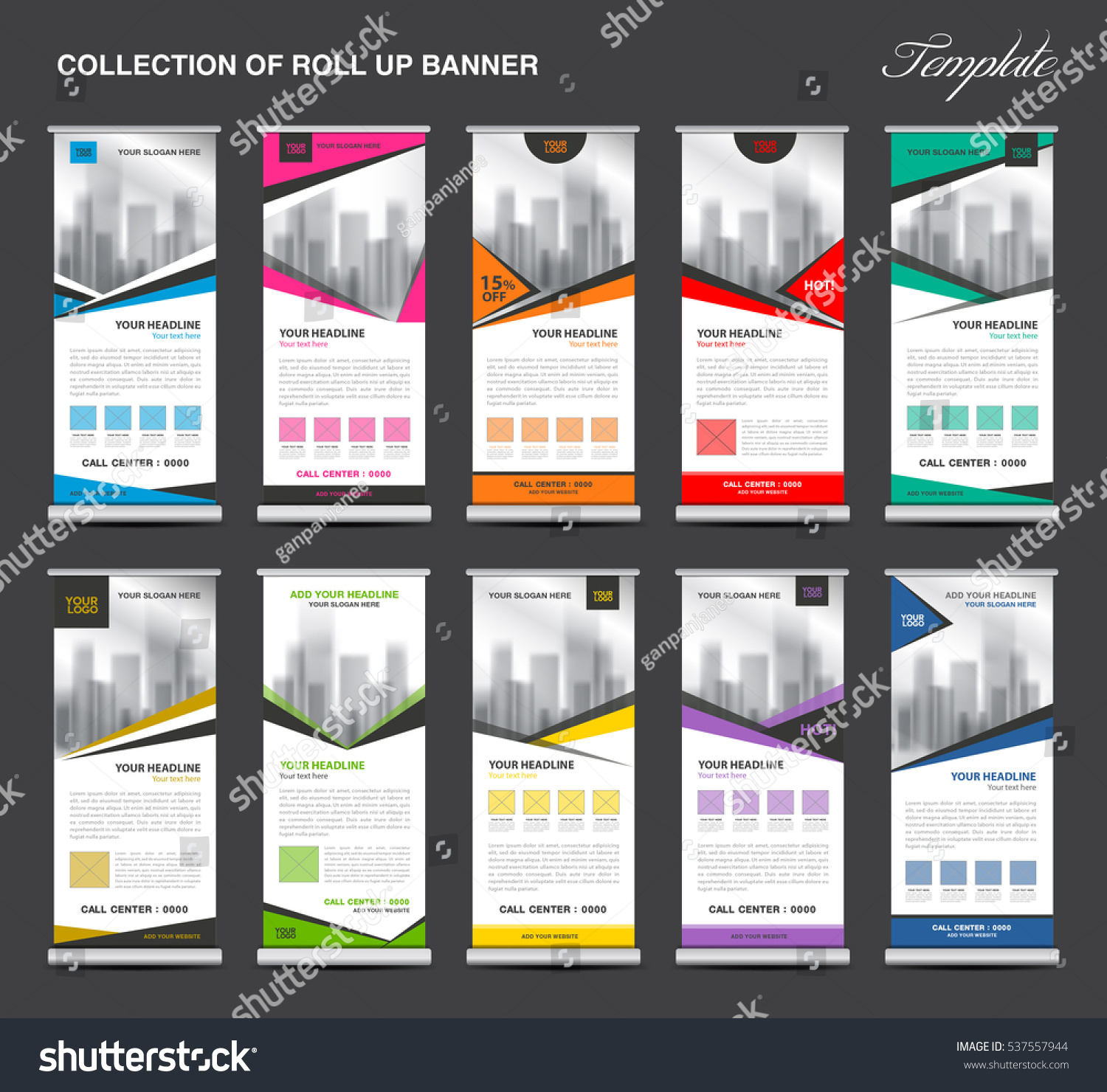 collection roll banner design stand template のベクター画像素材