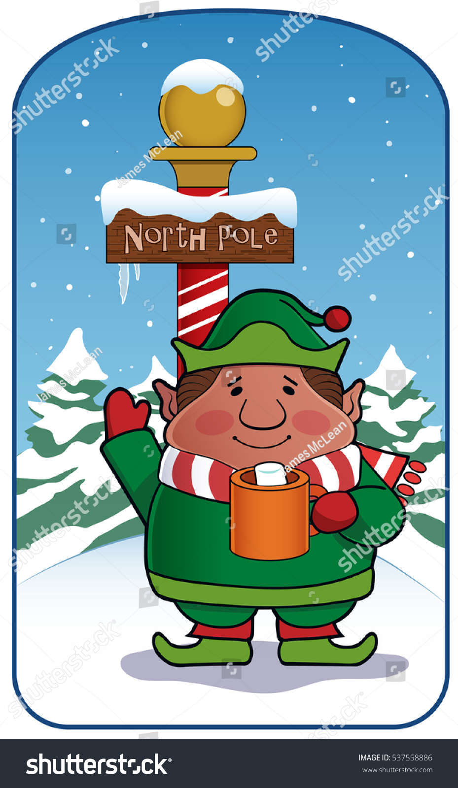 Greetings North Pole Elf Gives Friendly Stock Vector Royalty Free