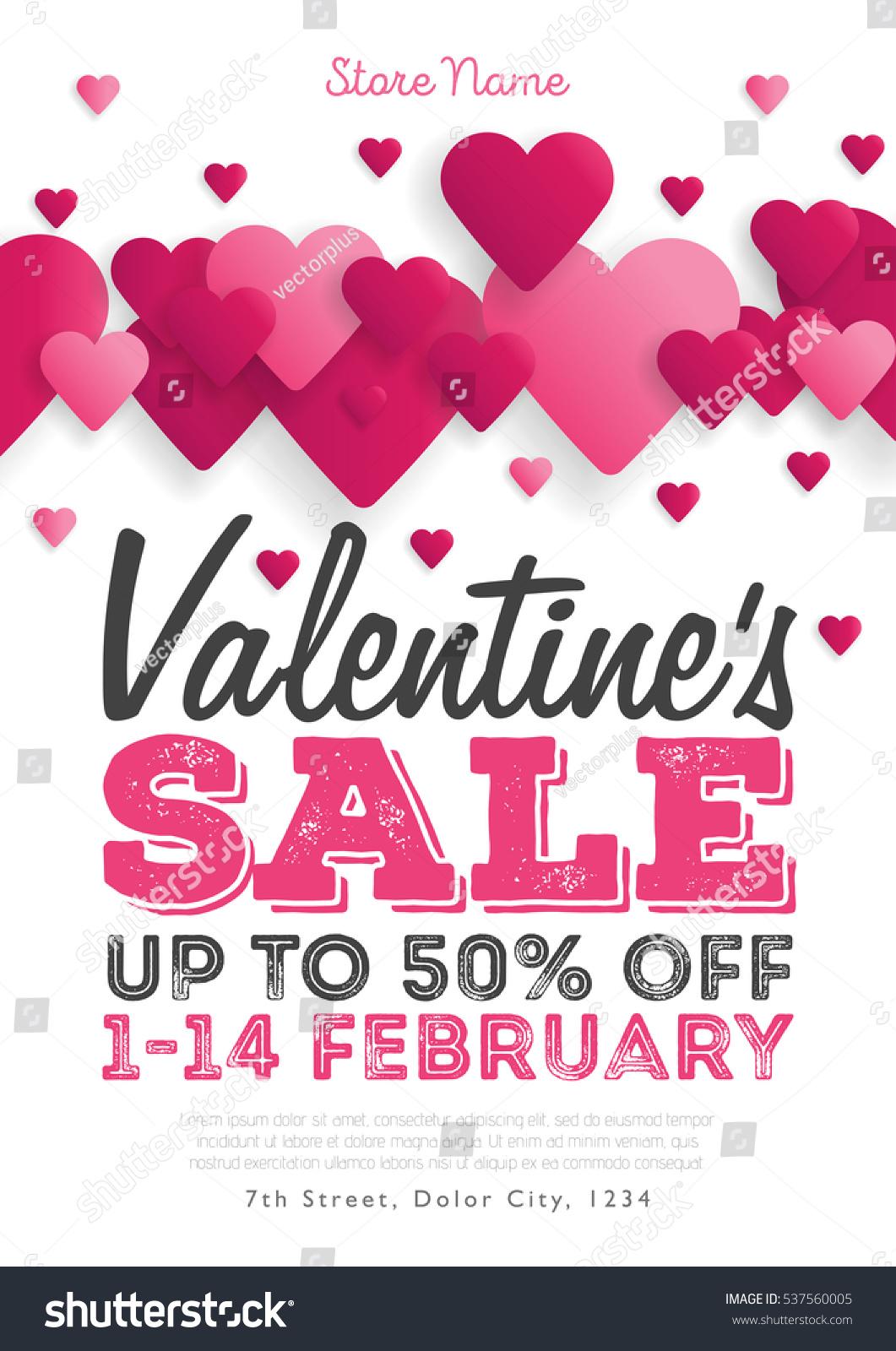 Valentines Day Sale Vintage Flyer Background Stock Vector Royalty