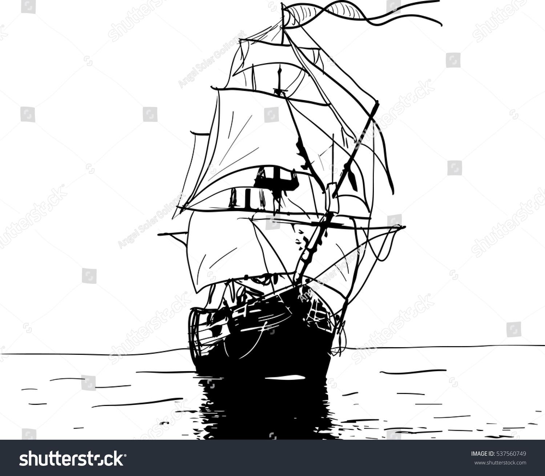 black white sketch sailing old ship stock vector 537560749