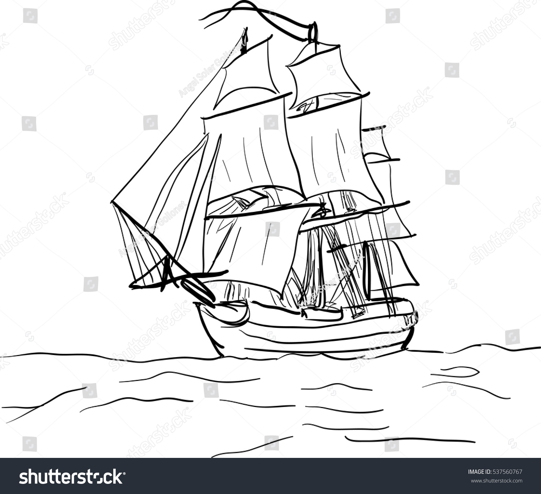 black white sketch sailing old ship stock vector 537560767