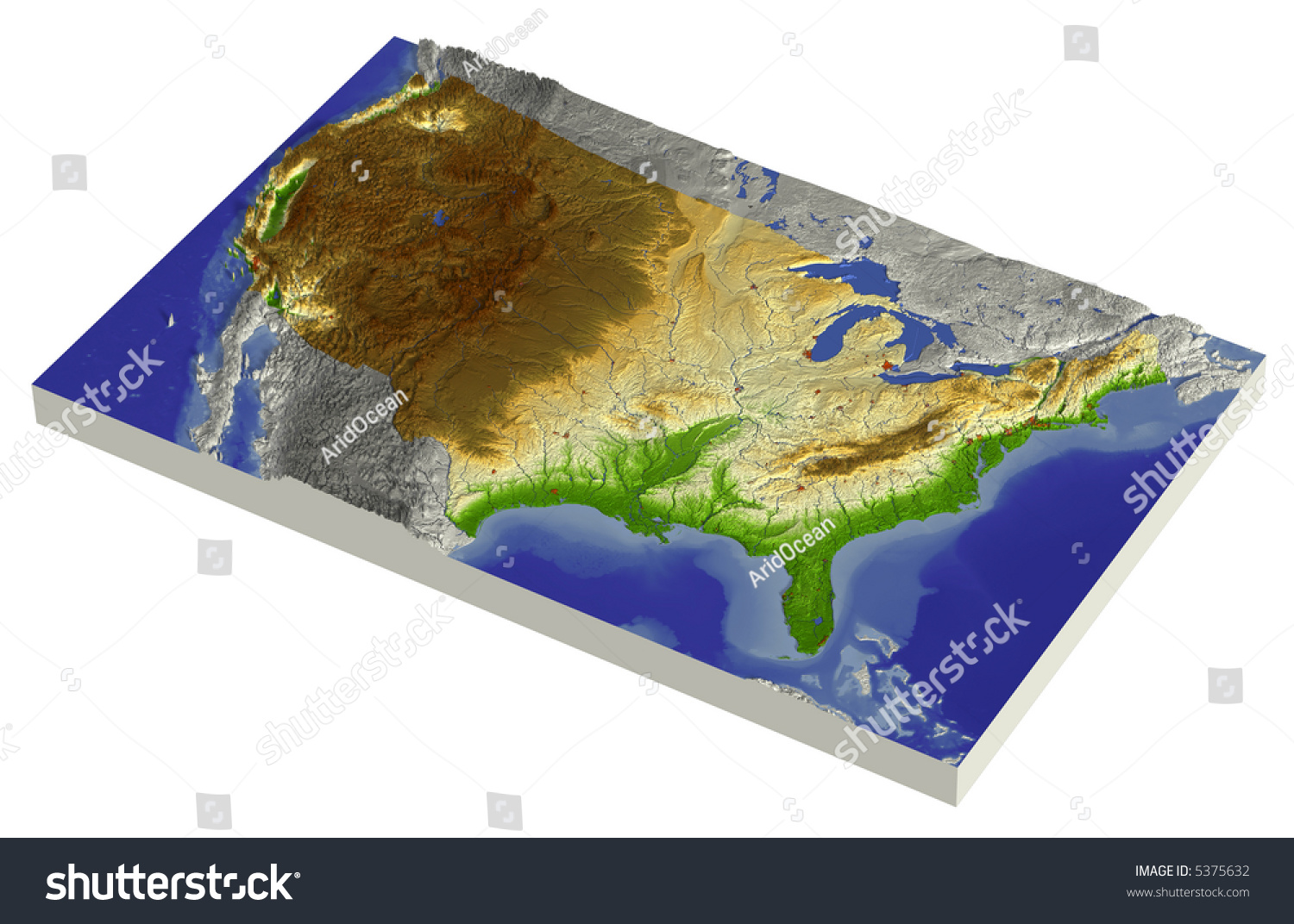 3d Relief Map Conterminous Usa Line Illustration 5375632 – Map Usa North West