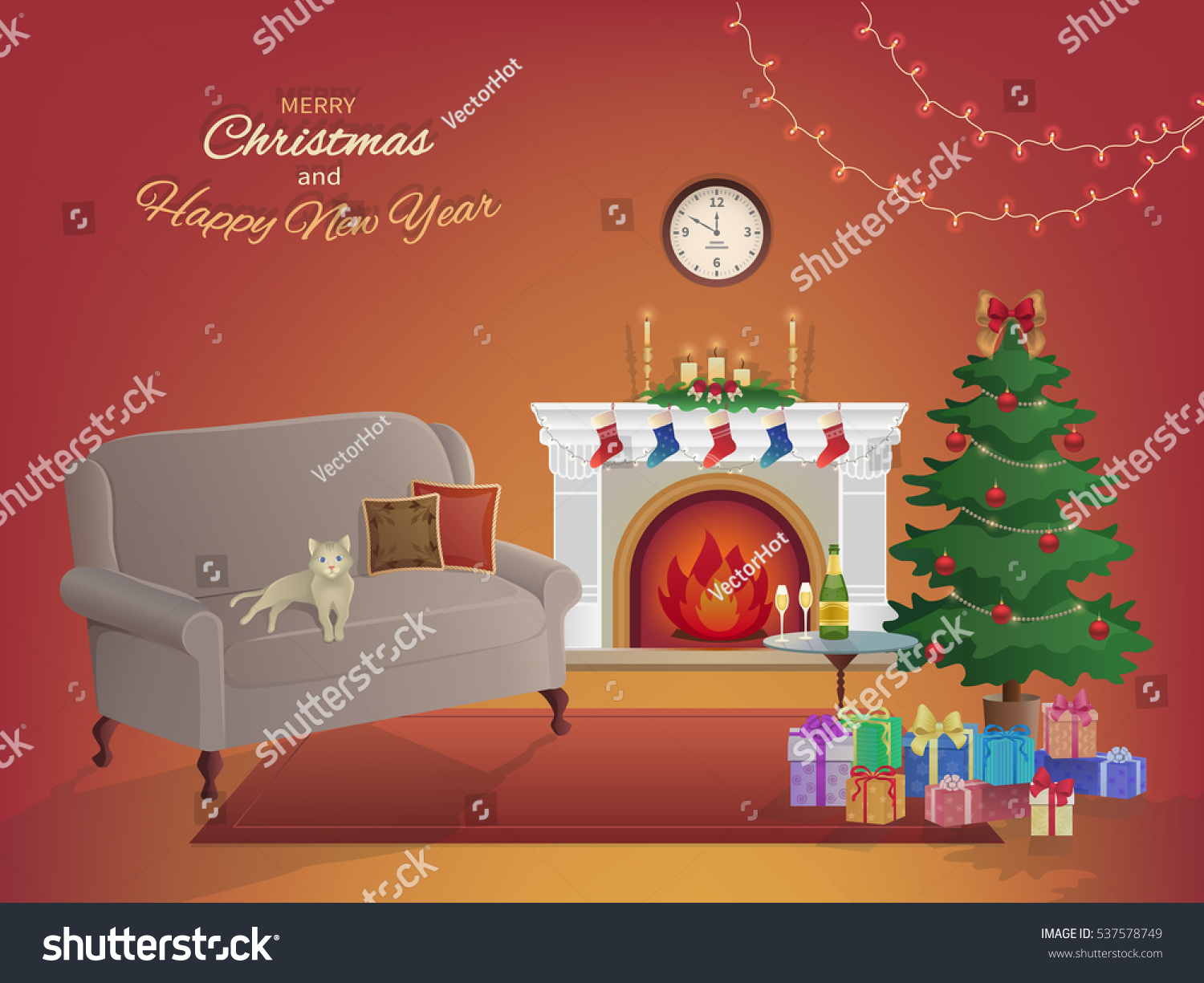 merry christmas room interior on red stock vector 537578749