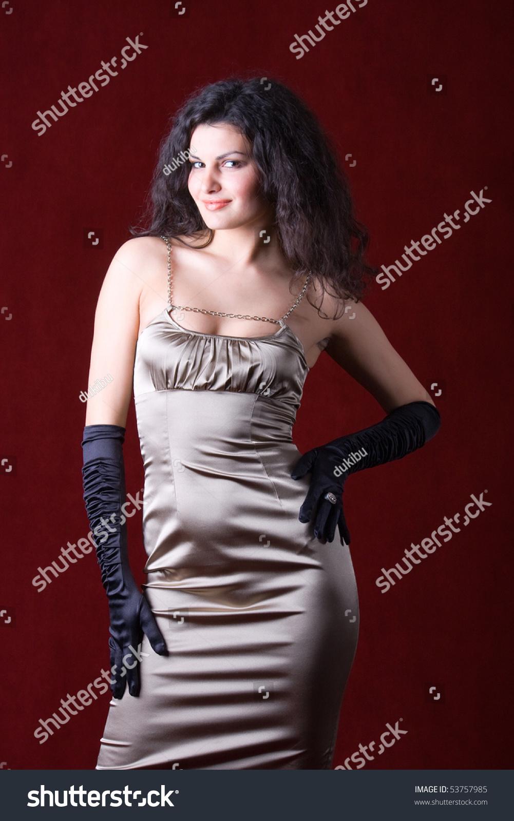 Woman Wearing Satin Dress Black Gloves Stock Photo ...