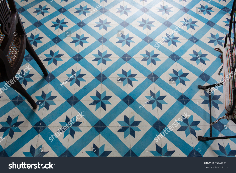 Modern Floor Tiles Blue Colored Geometric Stock Photo (Royalty Free ...