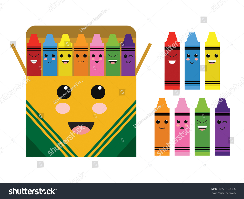 Kawaii Cute Color Crayon Box School Stock Vector 537644386