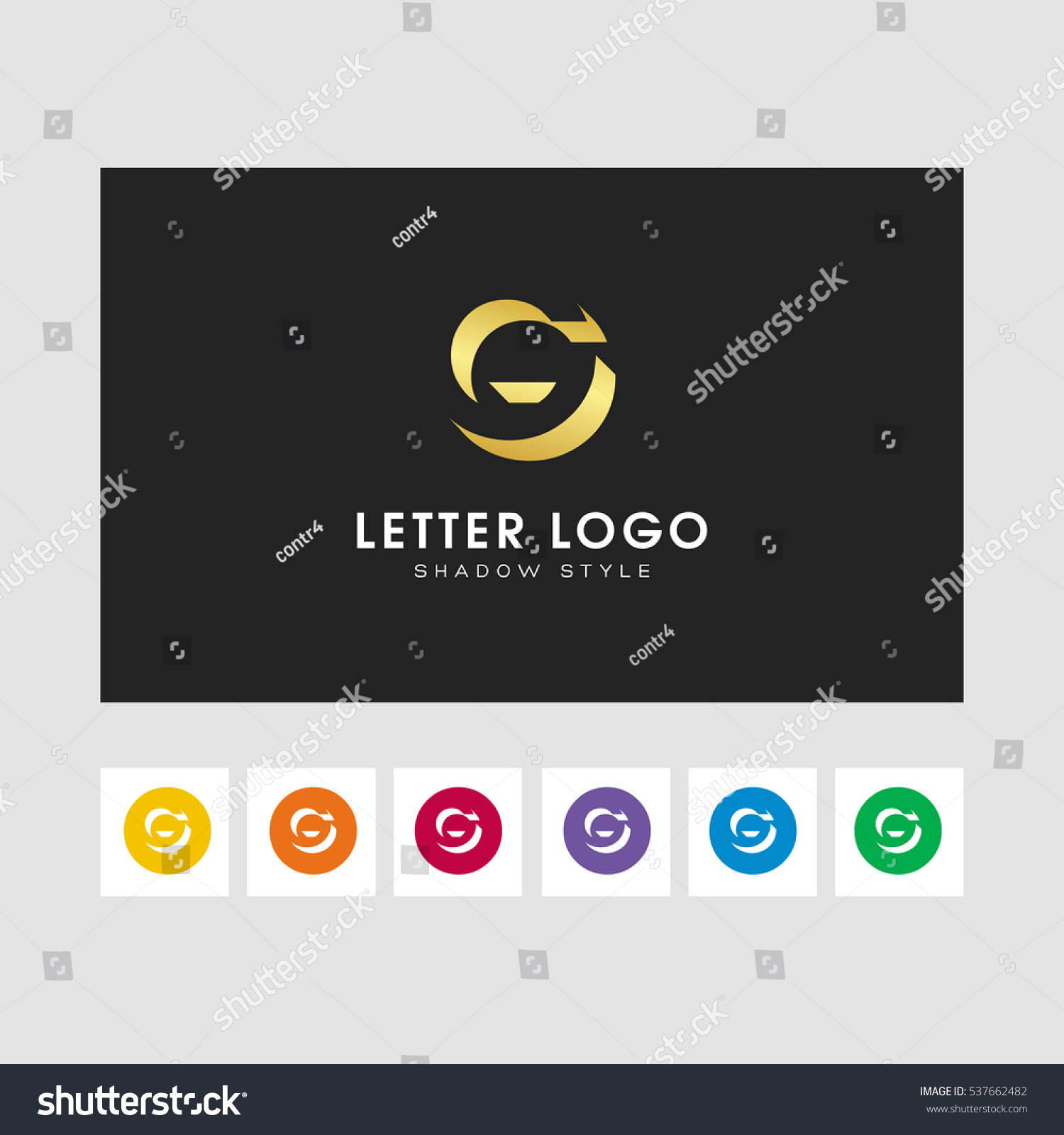 G Shadow Letter Logo Gold Color Stock Vector 537662482