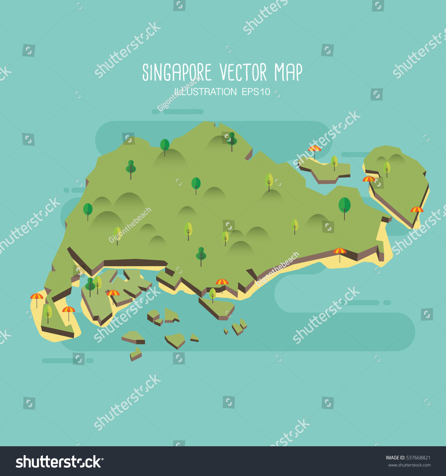 Singapore Vector Map Stock Vector Shutterstock - Singapore map vector