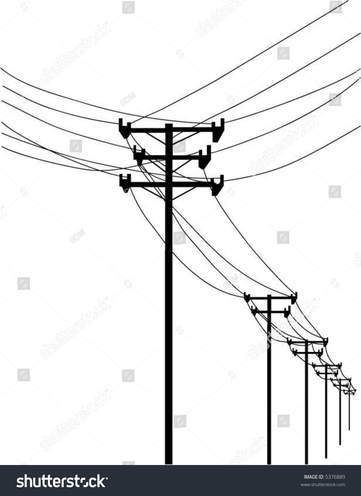 Vector Telephone Poles Wires Stock Royalty Free 5376889 Wiring Voltage And