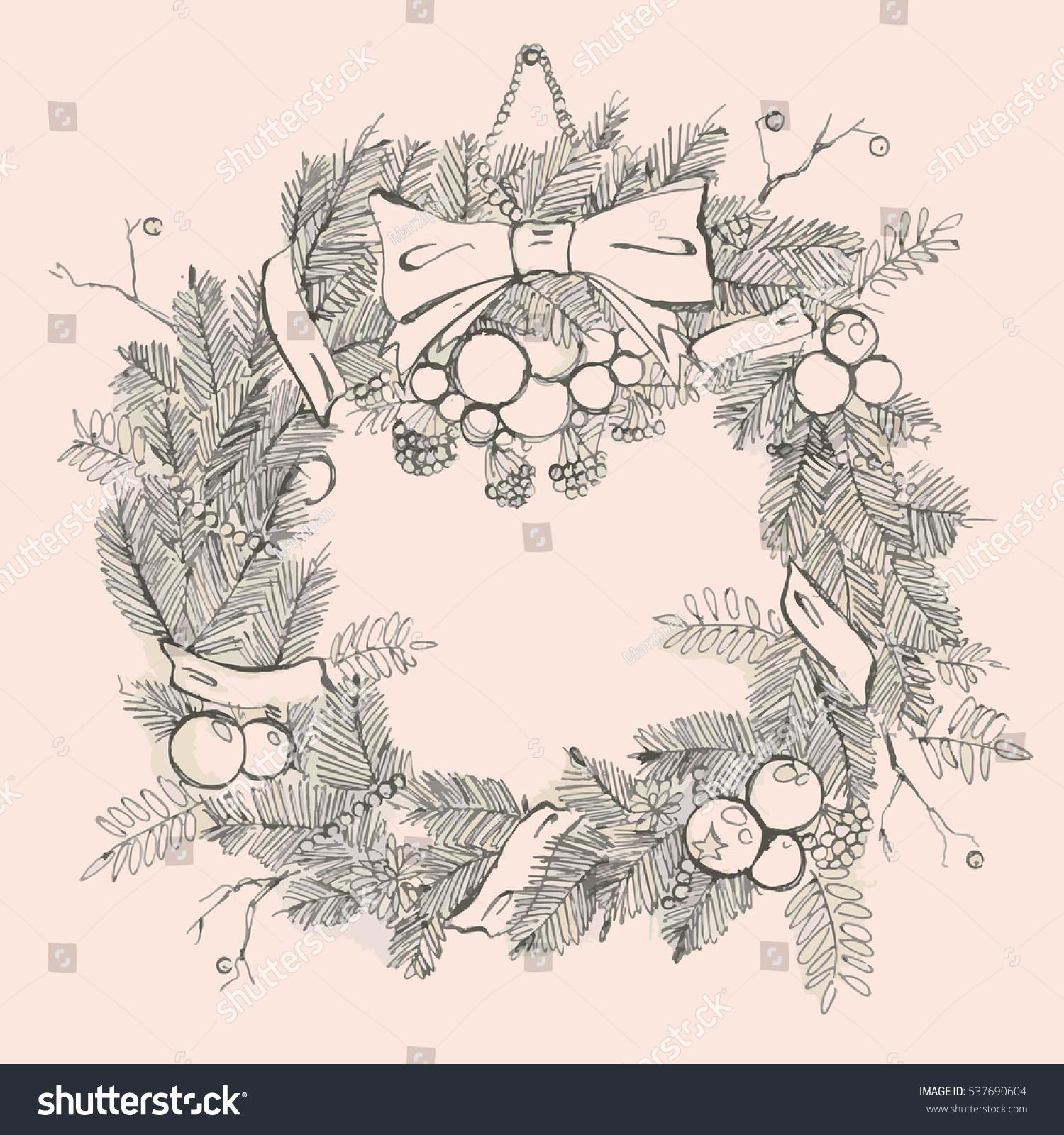 Lush Christmas Wreath Fir Outline Stock Vector 537690604