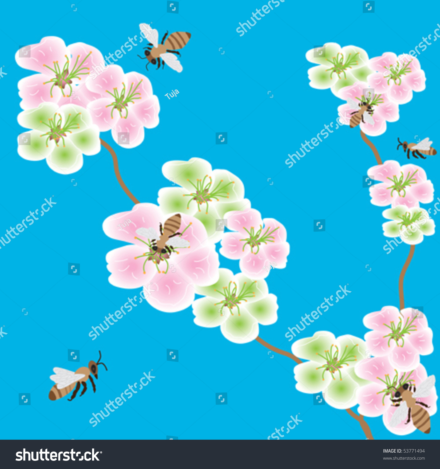 Spring Flowers With Bees In The Blue Sky