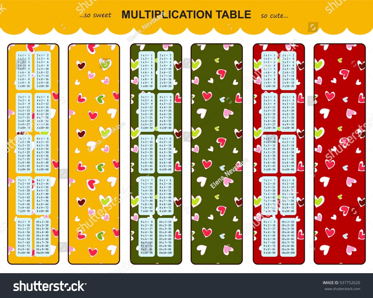 Vector Multiplication Table Printable Bookmarks Stickers Stock Photo ...