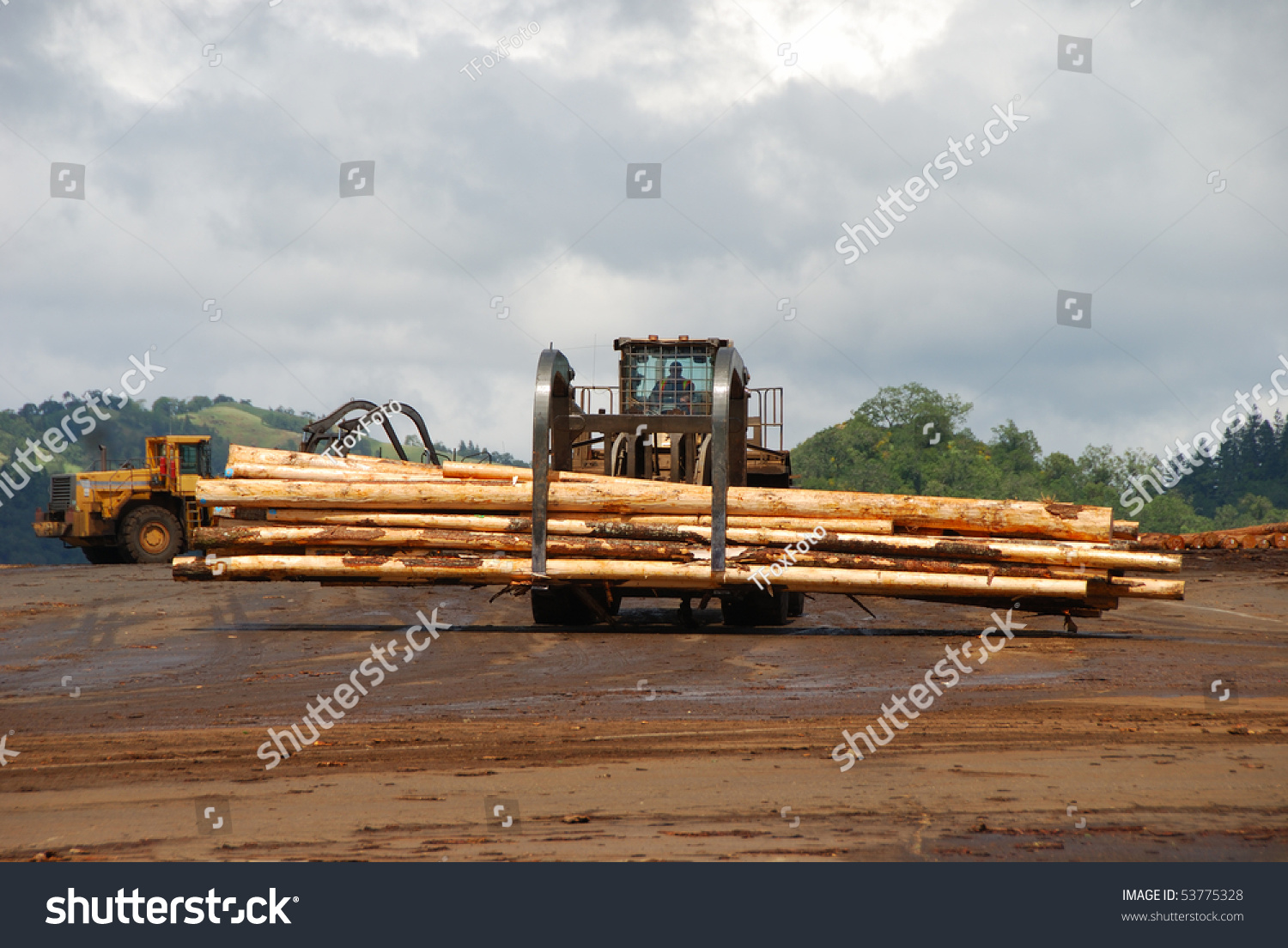 Log loader working a lumber mill logging truck receiving for Mill log