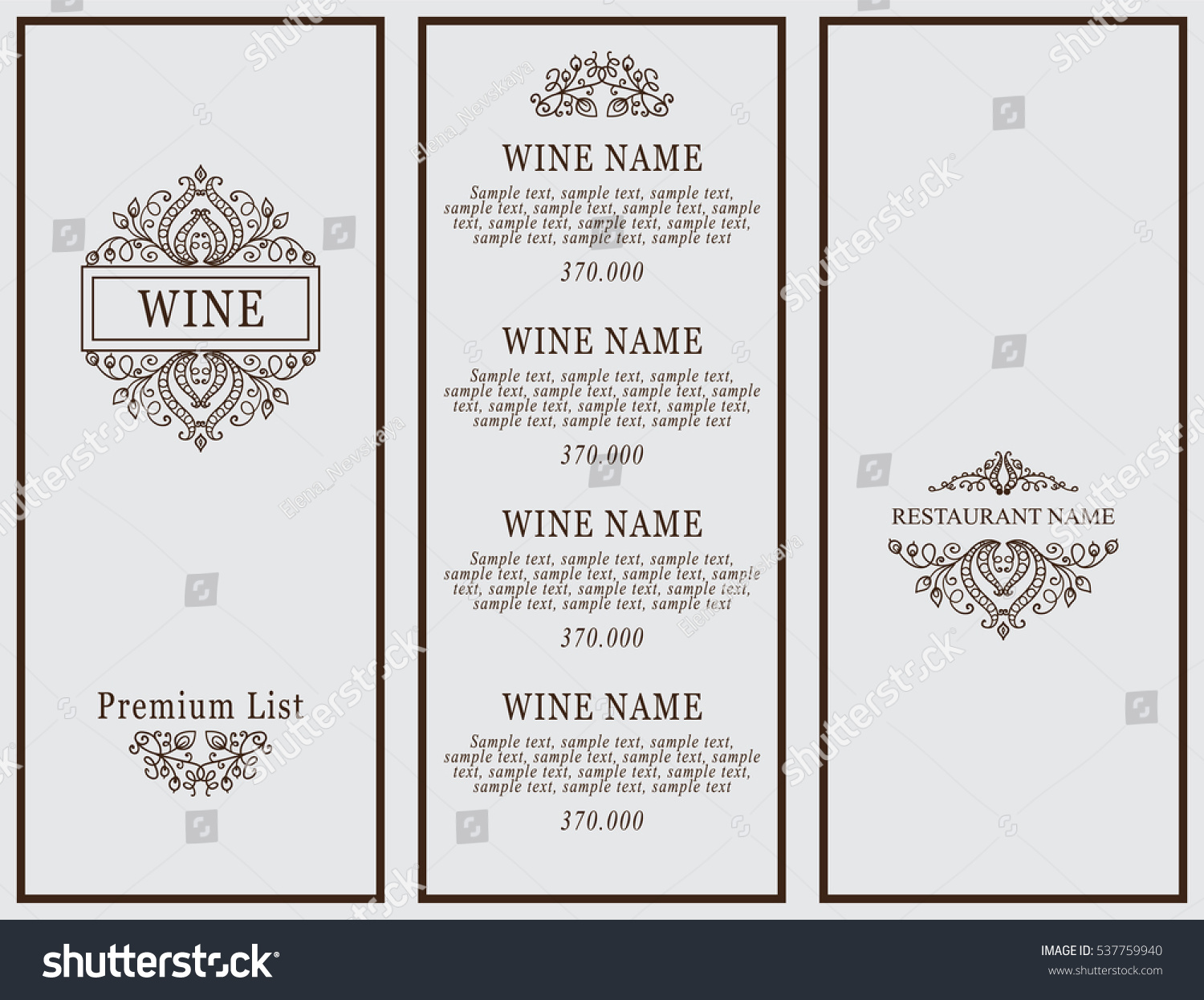 Vintage Design Restaurant Menu Wine List Stock Vector 537759940    Shutterstock