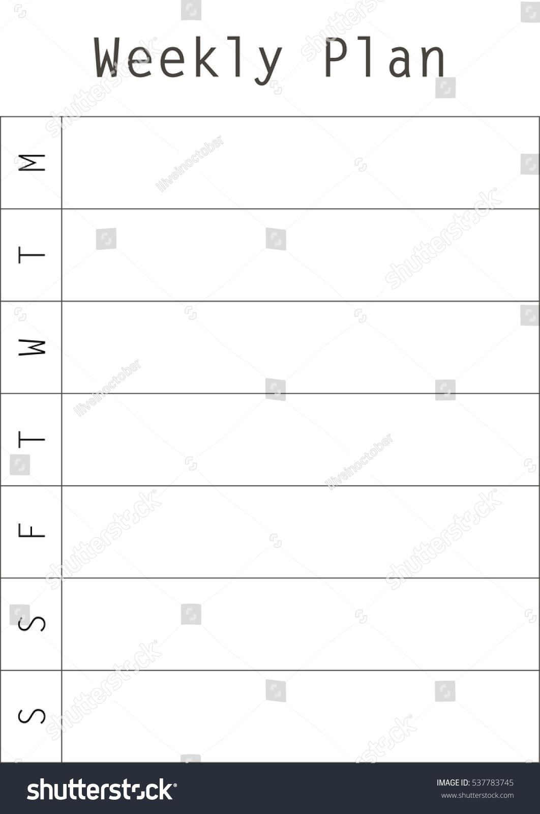 minimal weekly planner vector template printable stock vector