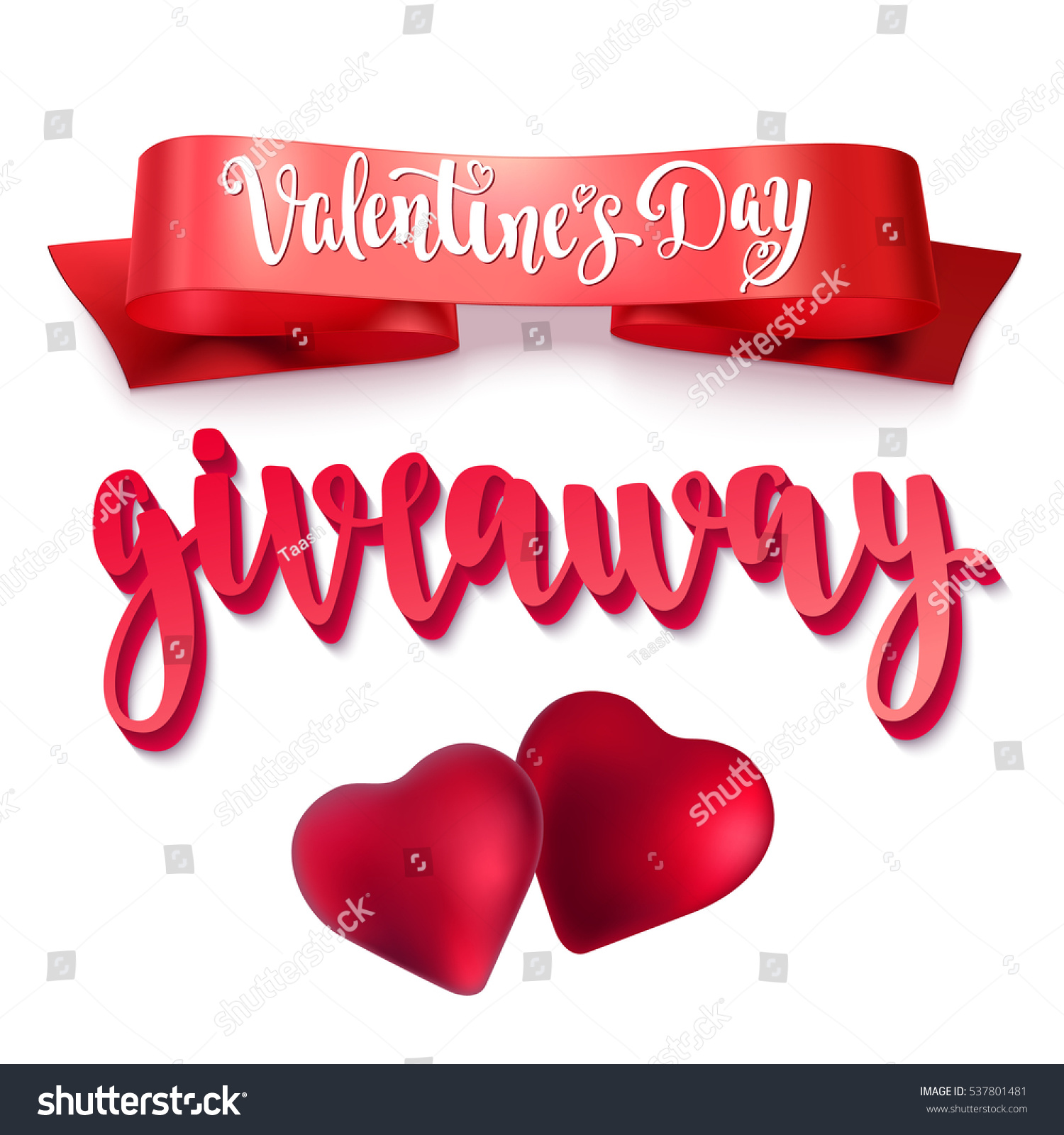 Valentines Day Giveaway Holiday Card With Calligraphy Red Ribbon And  Decorative Elements Handwritten   Valentine Giveaway