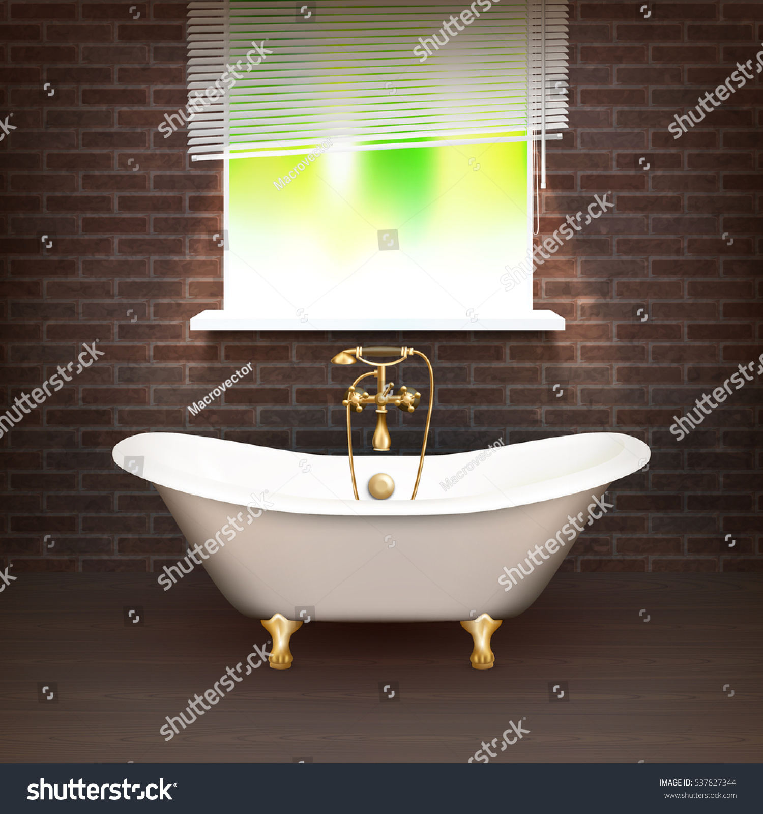 Realistic Bathroom Poster With Vintage Bathtub On Wooden Floor And A Brick Wall Across From The