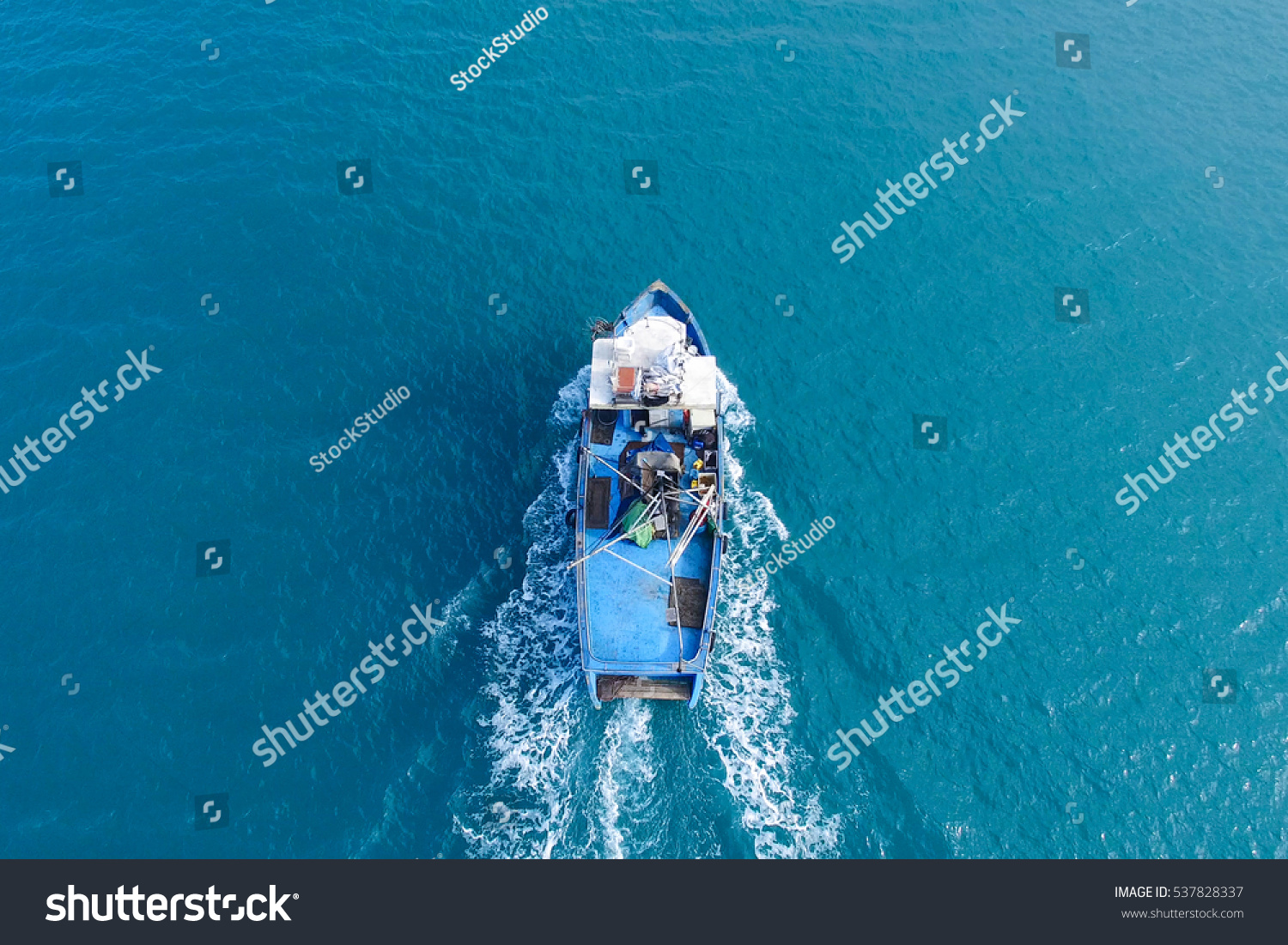 Small Fishing Boat Sea Aerial Image Stock Photo 537828337 ...