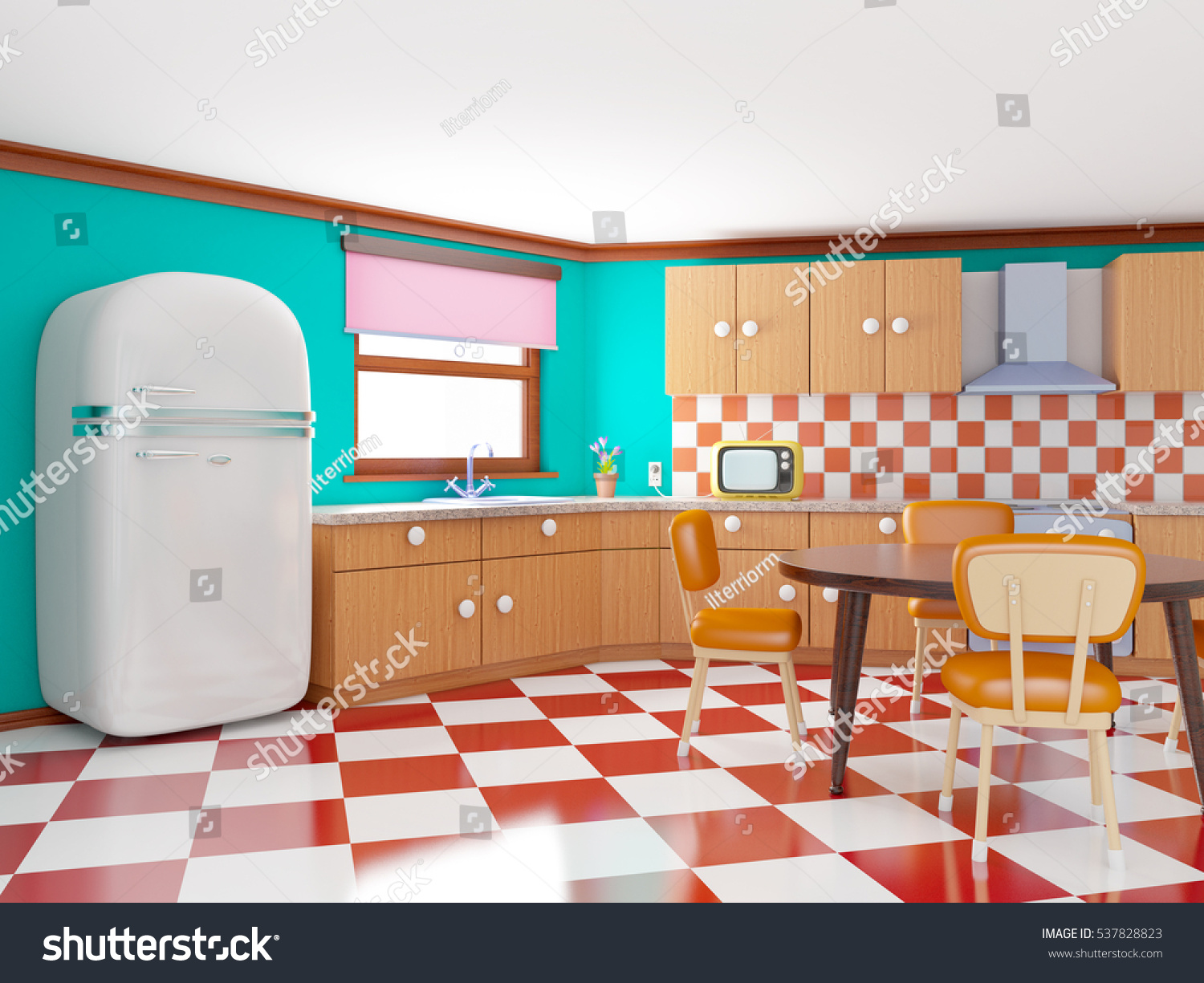 retro kitchen in cartoon style with checkered floor 3d