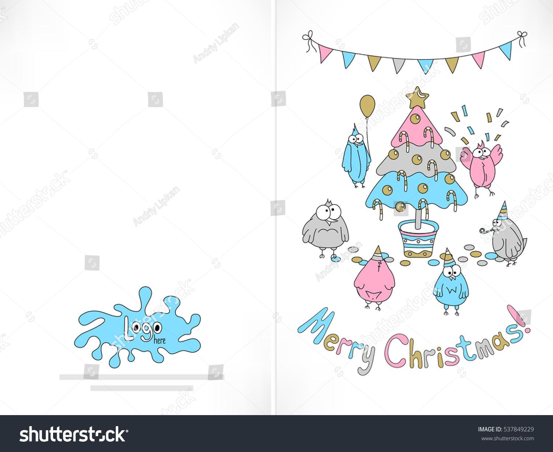 Ready Print Christmas Card Funny Birds Stock Vector (Royalty Free ...
