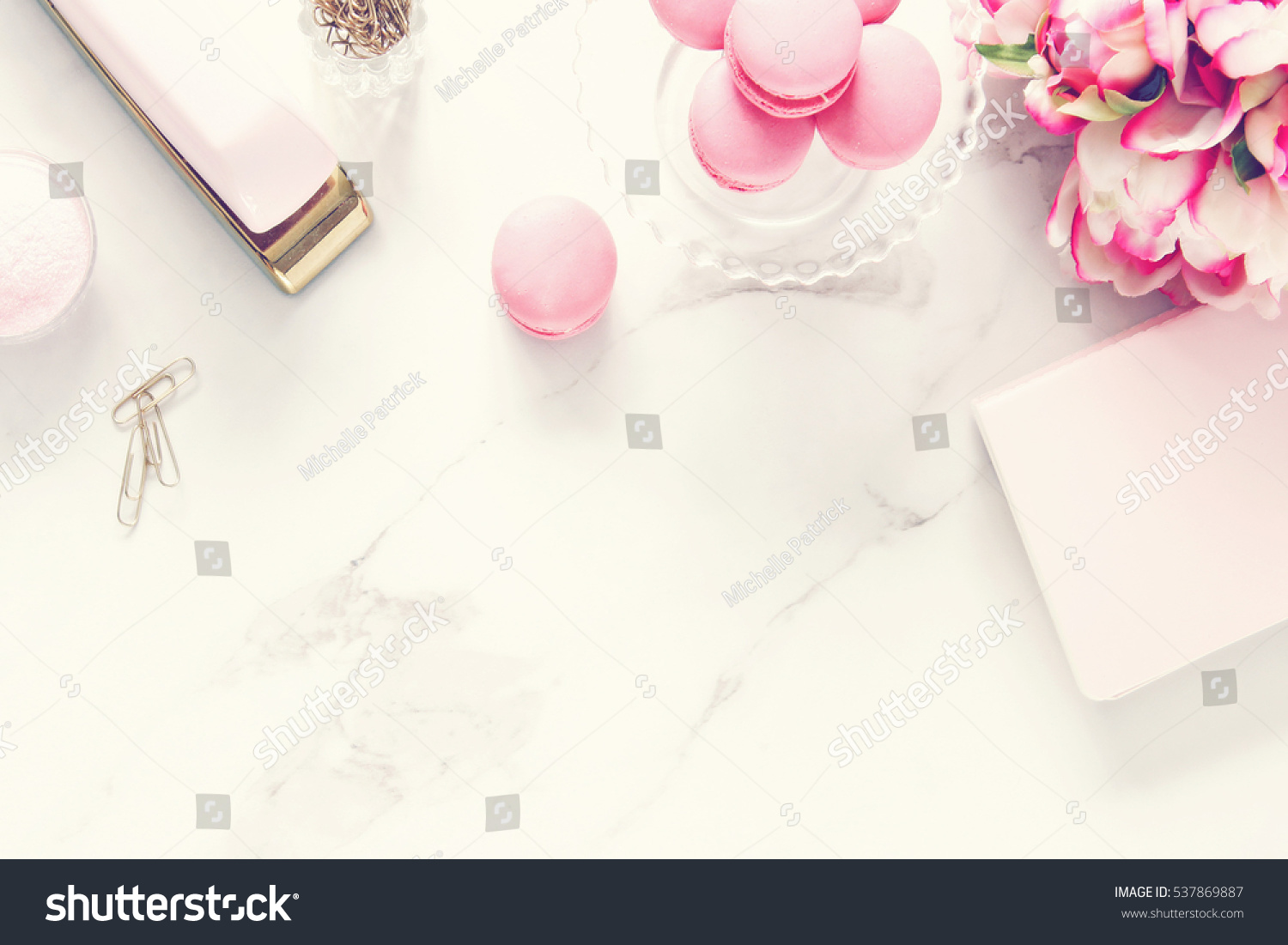 Beau Chic Pink And White Desktop With Elegant Office Supplies With Room For Copy.