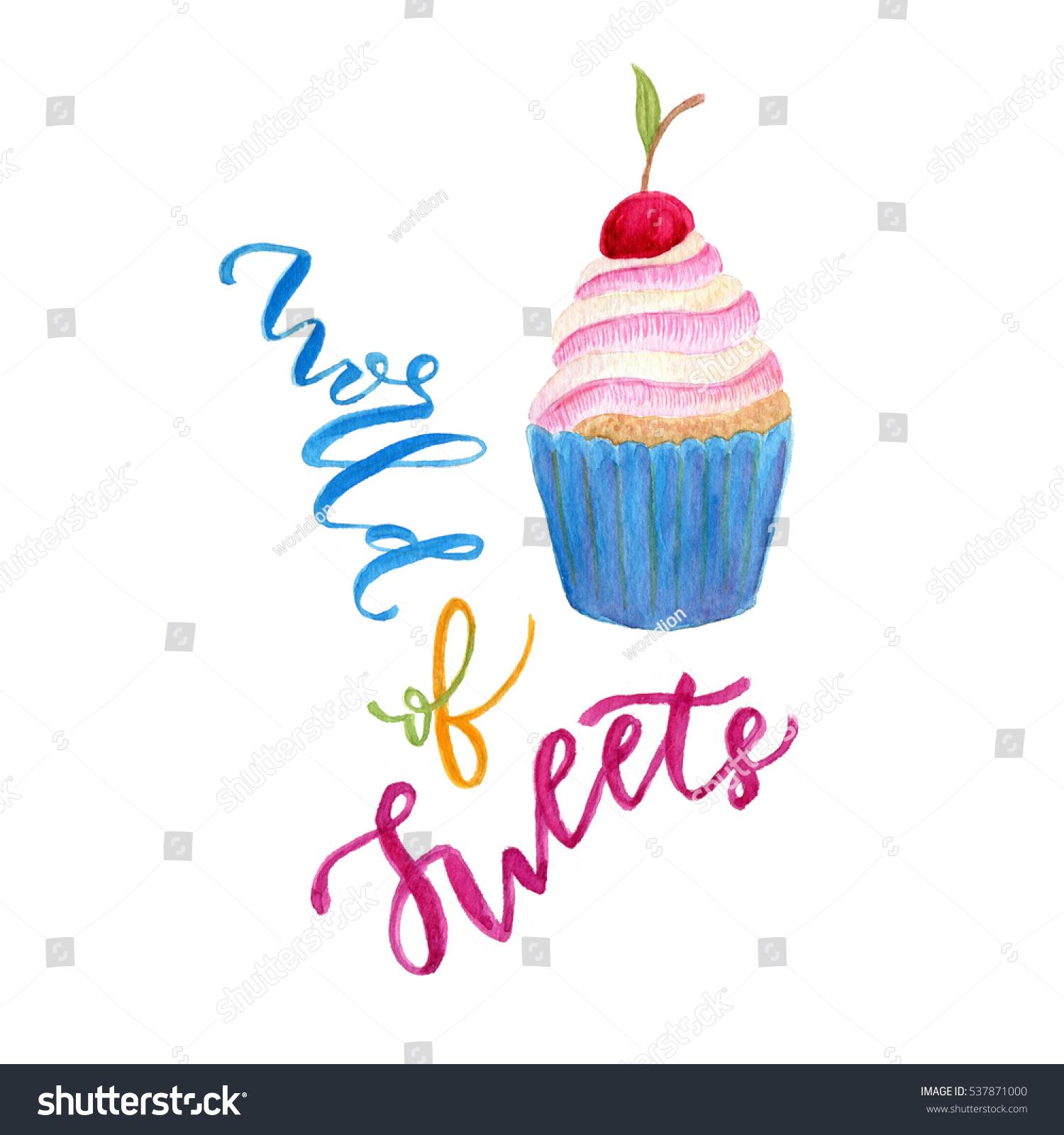 Watercolor Cupcake Illustration Sweet Art Greeting Stock