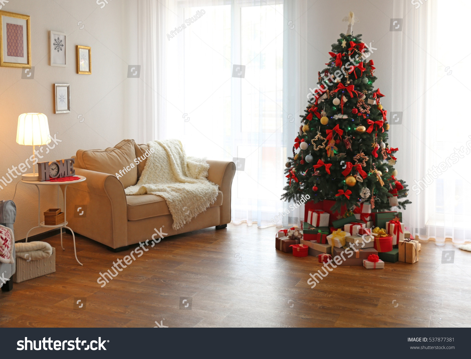 Interior Of Beautiful Living Room Decorated For Christmas Stock Photo 537877381 Shutterstock