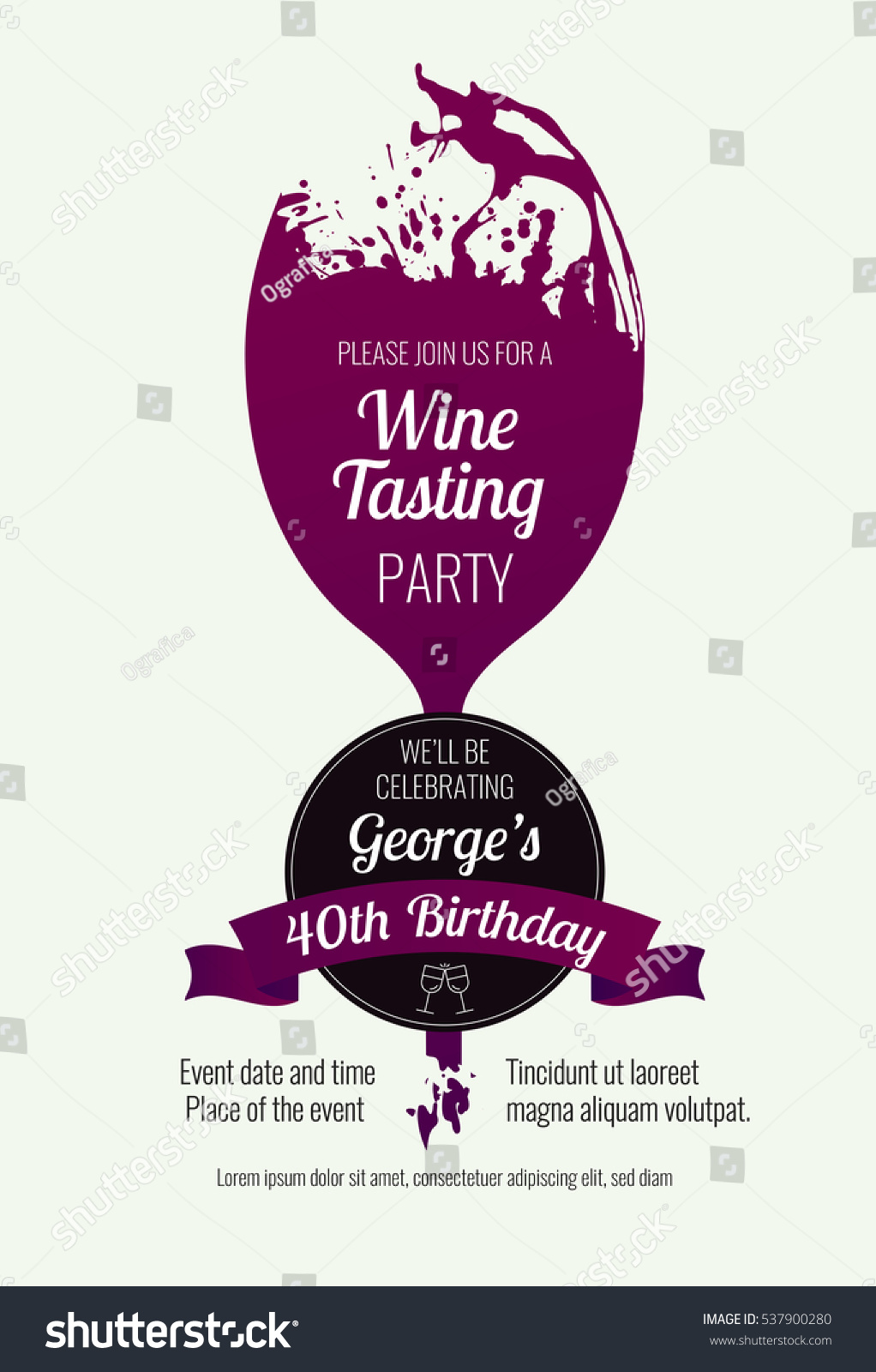 Invitation template event party wine promotion stock vector royalty invitation template for event party or wine promotion suitable for tasting events parties stopboris Choice Image