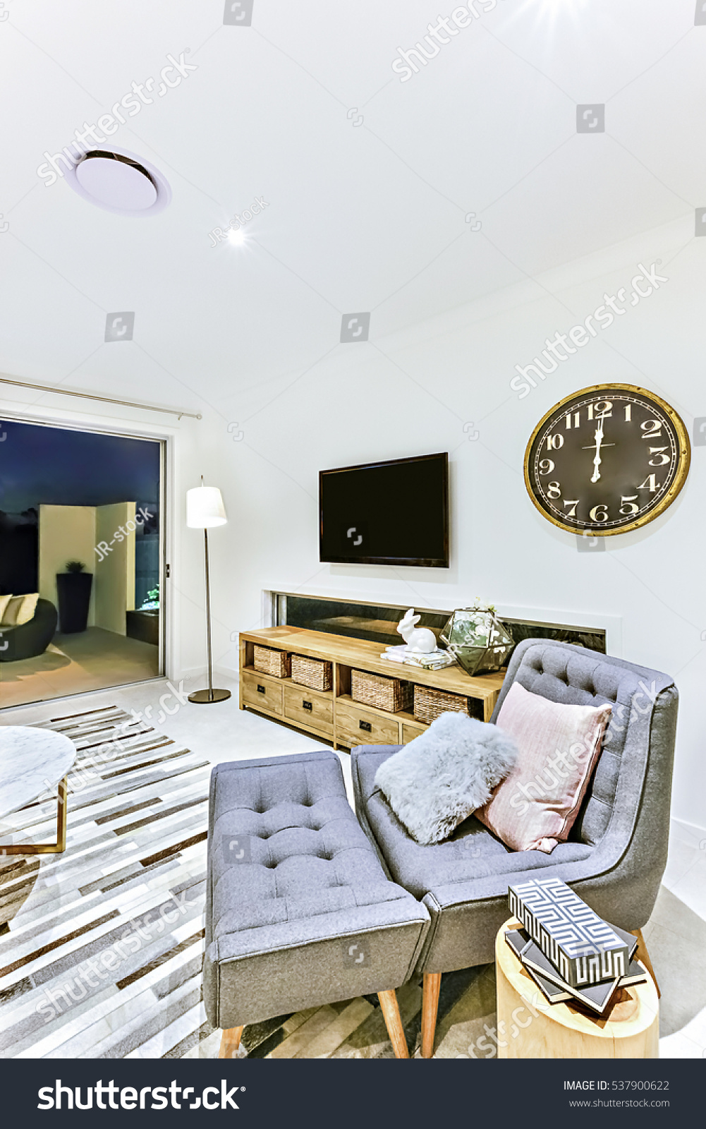 Simple Living Room Clock Television Near Stock Photo (Royalty Free ...