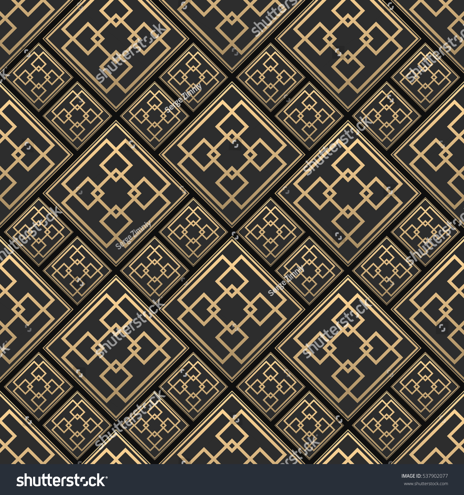 Seamless pattern art deco style black stock vector 537902077 seamless pattern in art deco style black and golden tilework 3d effect ceramic tiles dailygadgetfo Image collections