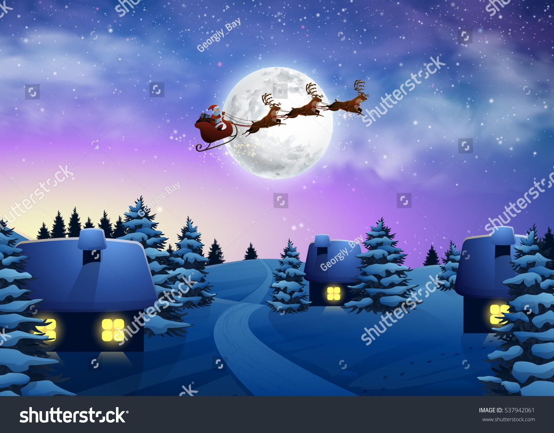 Christmas Houses Snowfall Night Full Moon Stock Vector
