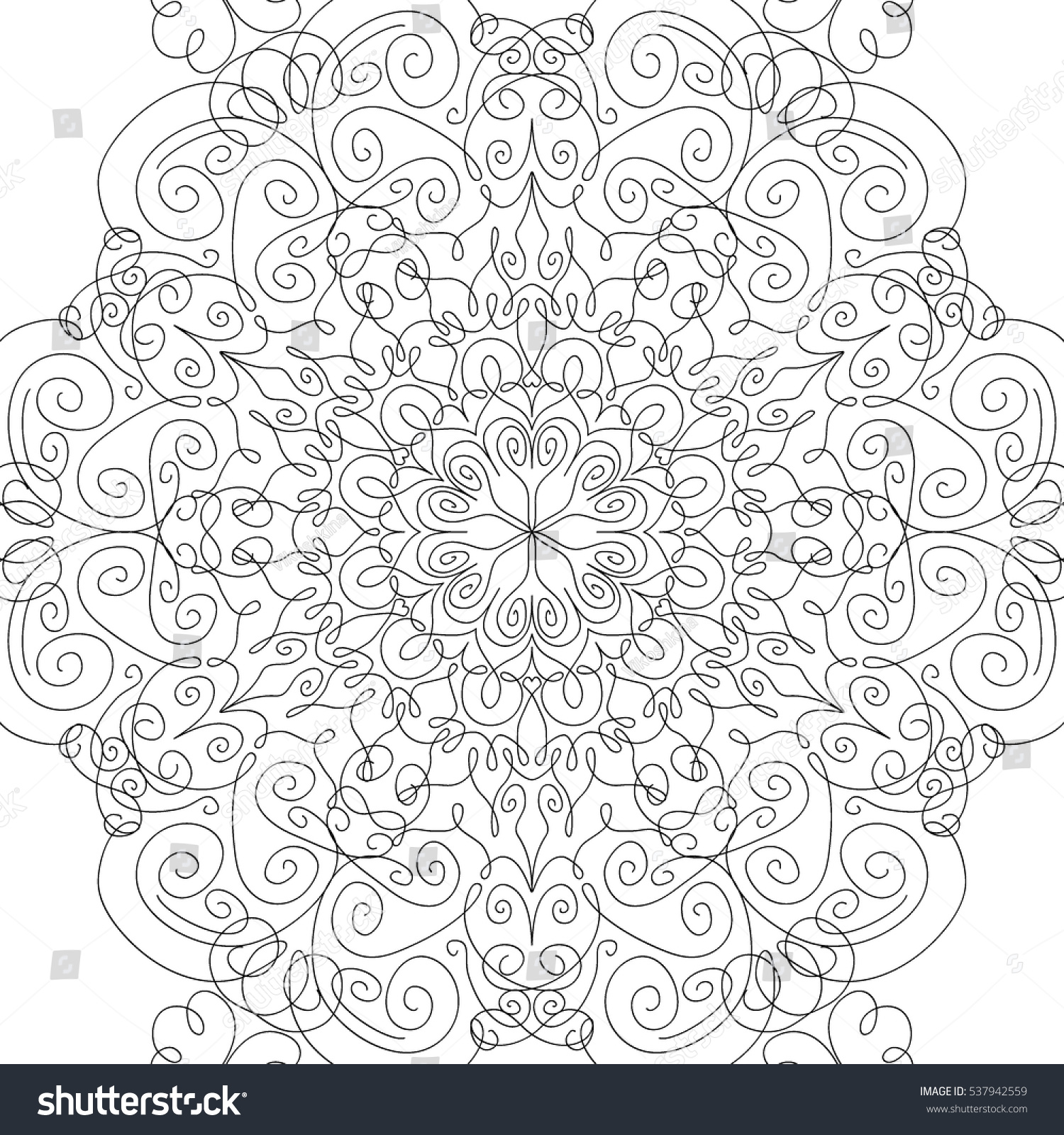 adult coloring book lacy seamless black and white pattern with calligraphic swirls for textile - Coloring Book Wallpaper