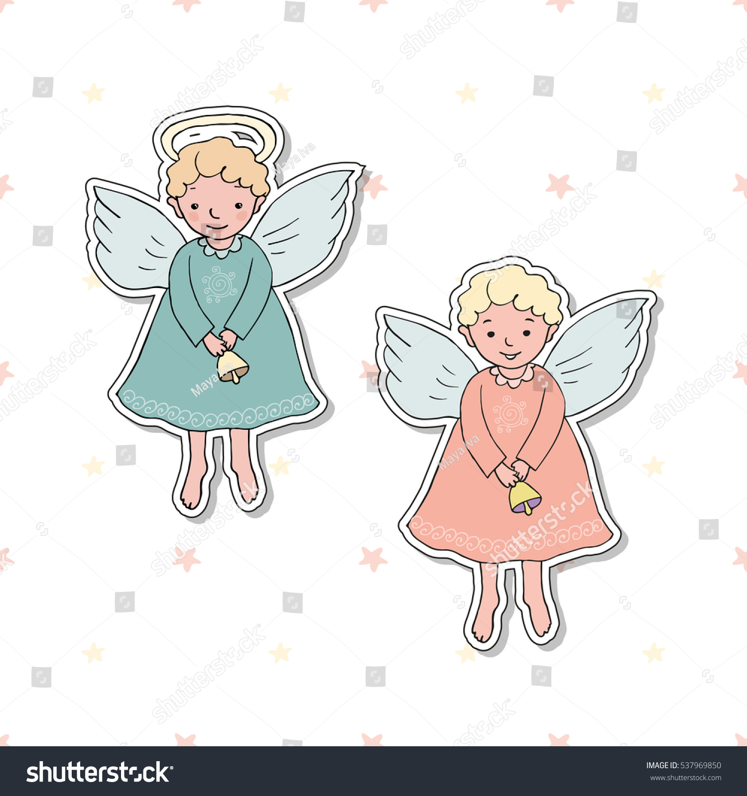 Hand Drawn Cute Christmas Angels Bells Stock Vector (Royalty Free ...