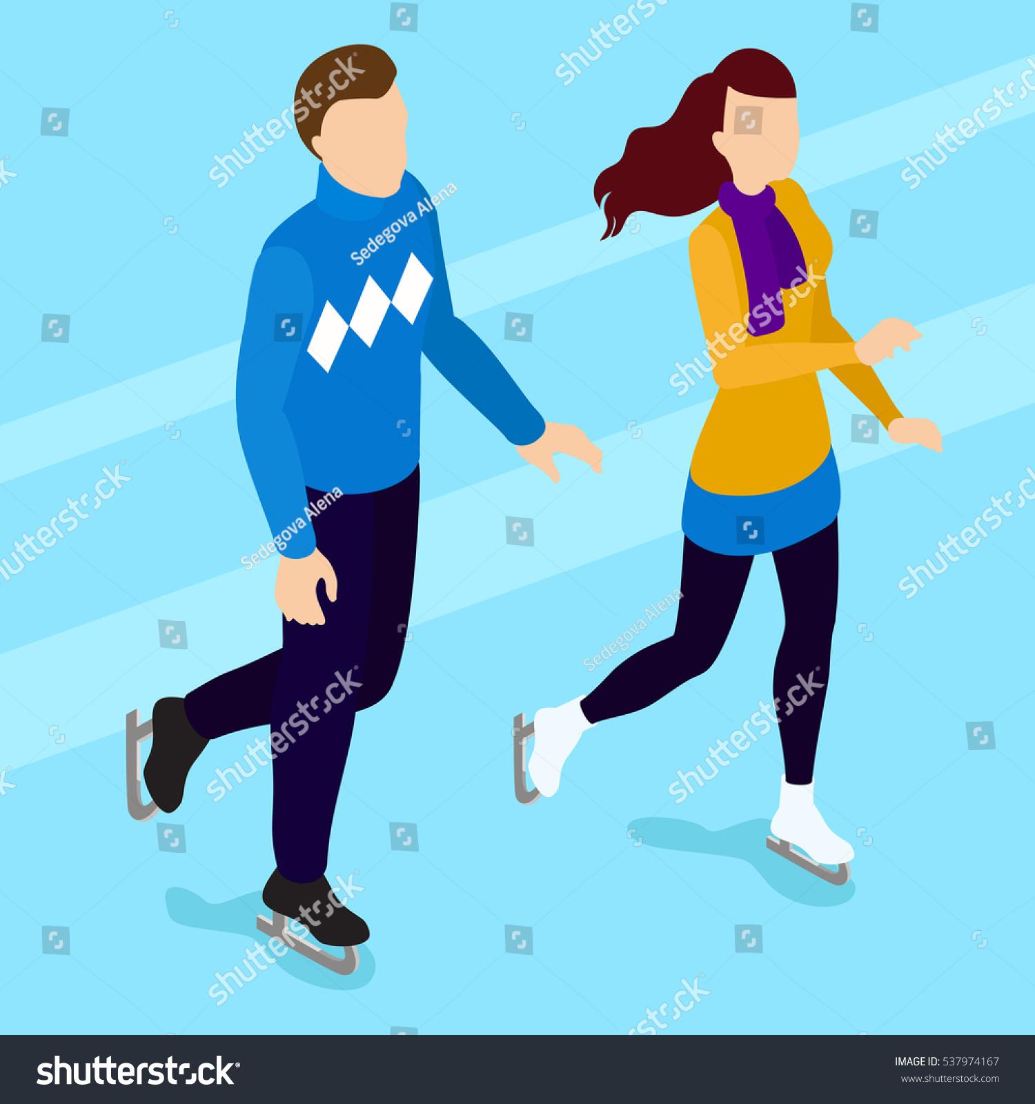 Skating People Skating Couplewalking Isometric People Stock Vector