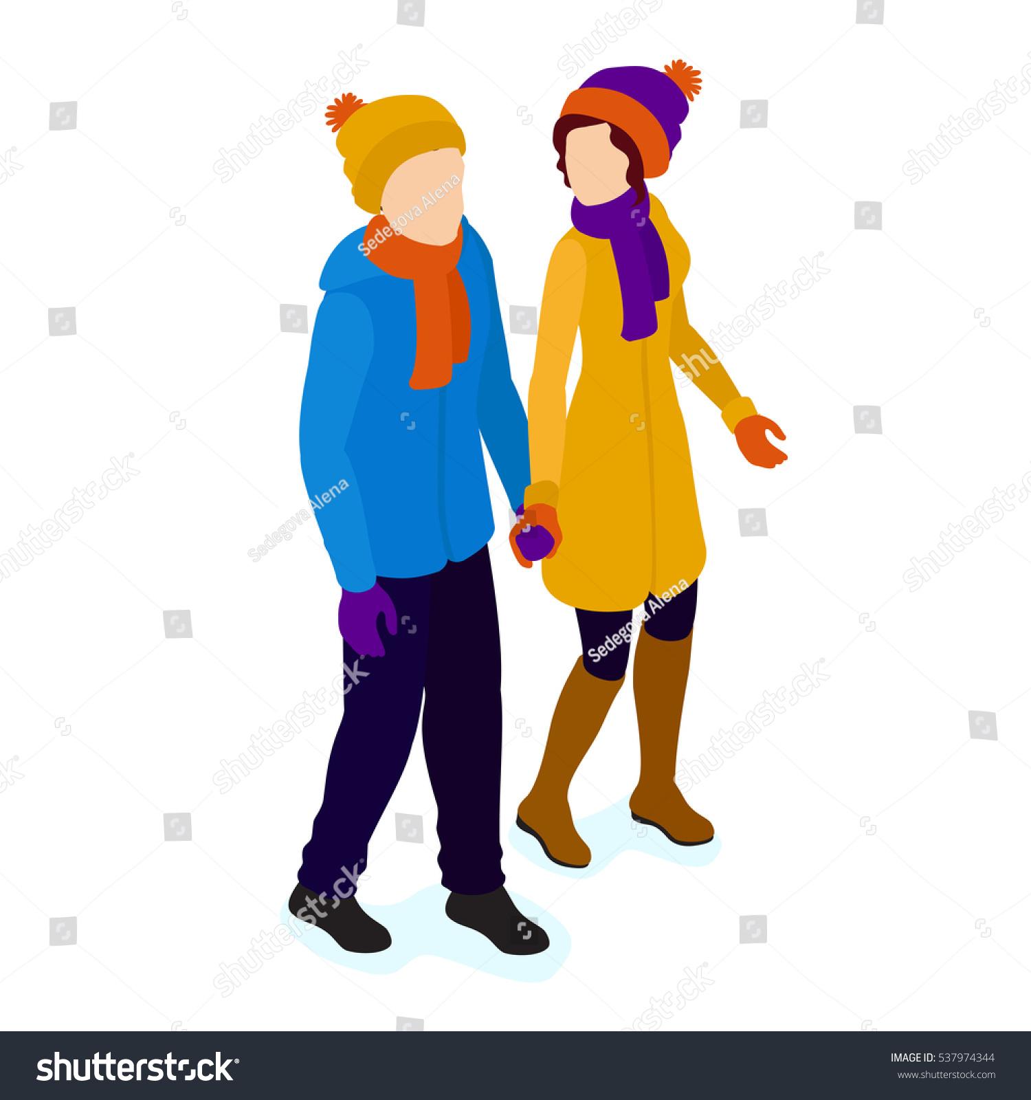 Walking Couplewalking Isometric People Winter Scene Stock