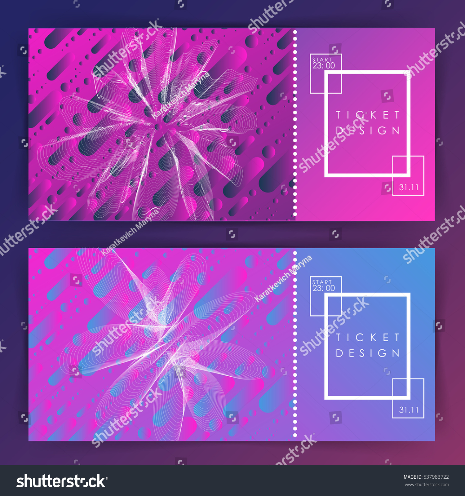 Ticket Design Party Invitation Template Two Stock Vector 537983722 ...
