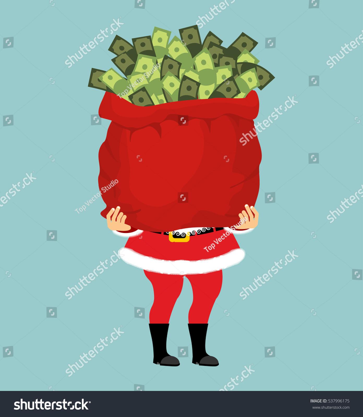 Santa bag money christmas gift cash stock vector