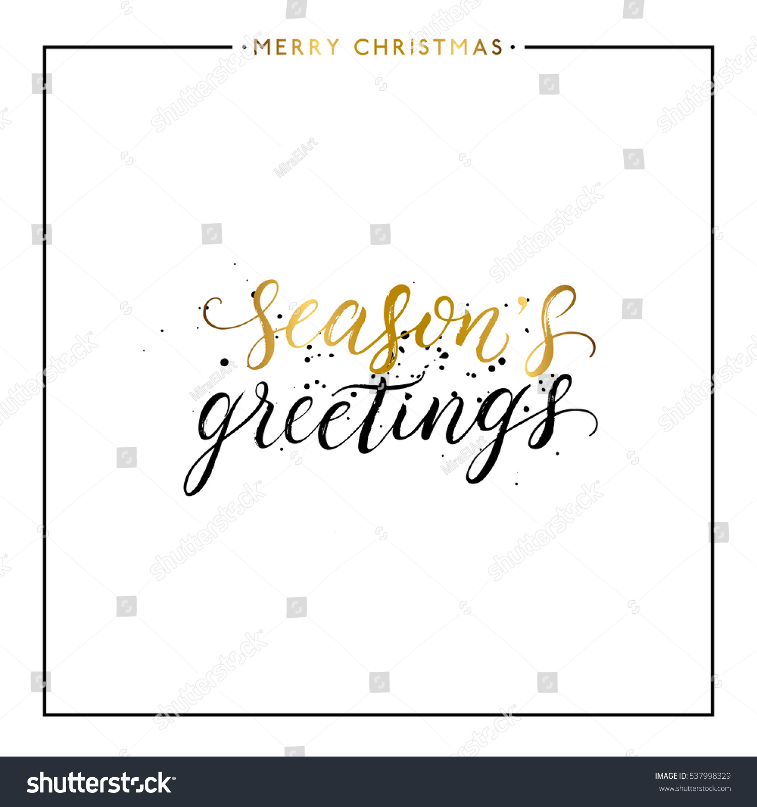 Seasons Greetings Gold Text Black Splashes Stock Vector Royalty