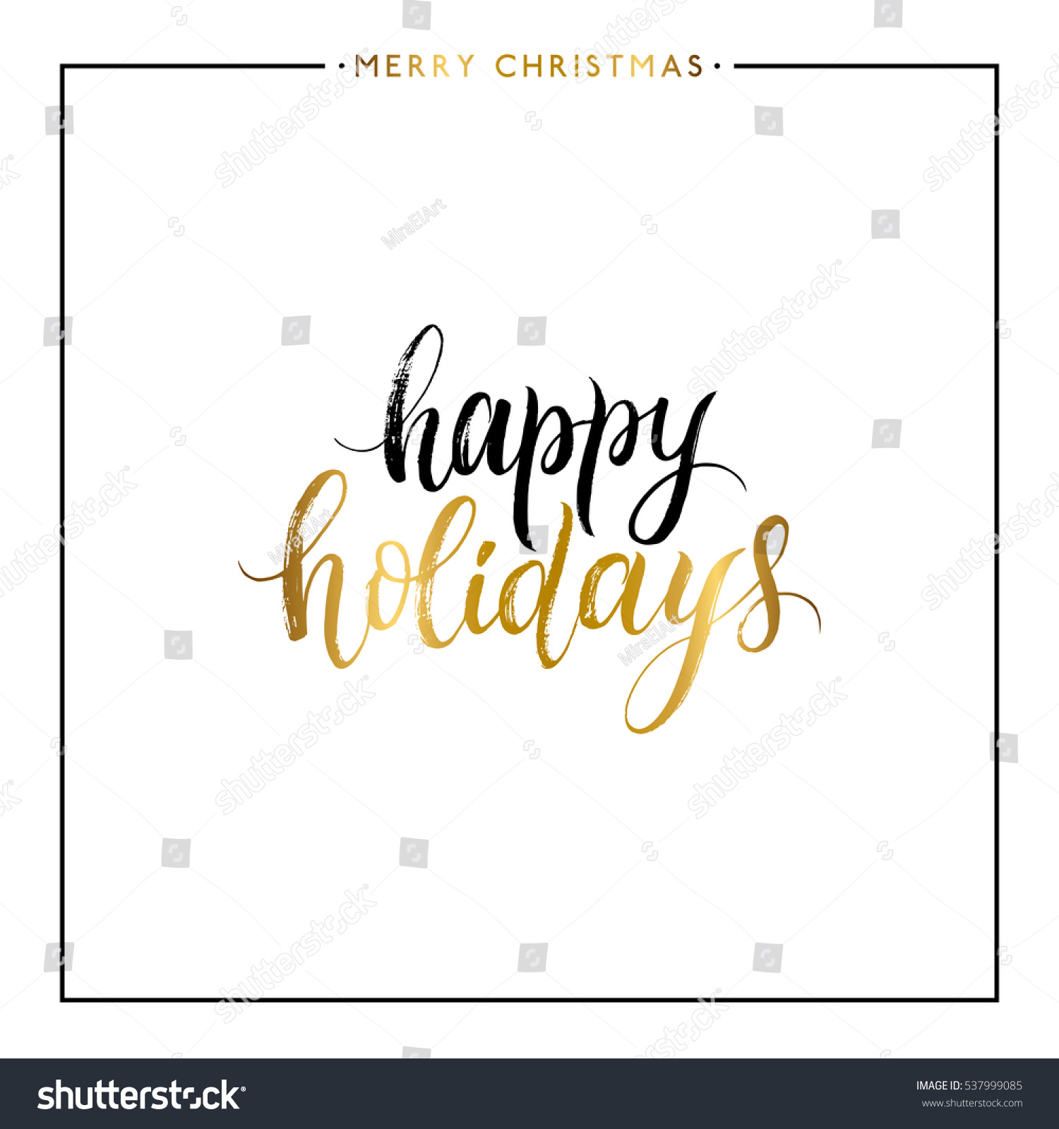Happy Holidays Gold Text Isolated On Stock Vector (Royalty Free ...