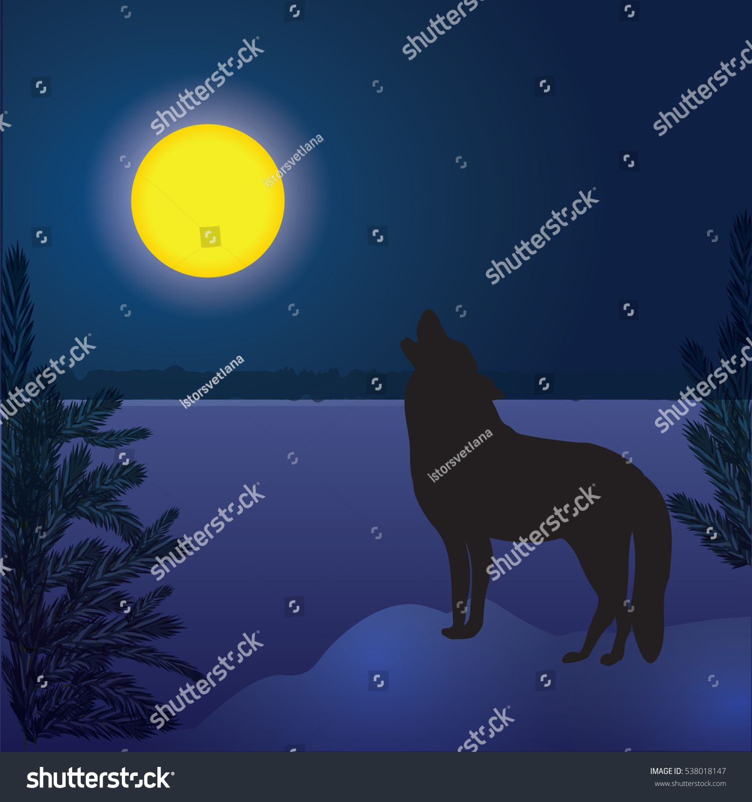 Wolf Moon Winter Landscape Forest Dark Stock Vector Royalty Free 538018147
