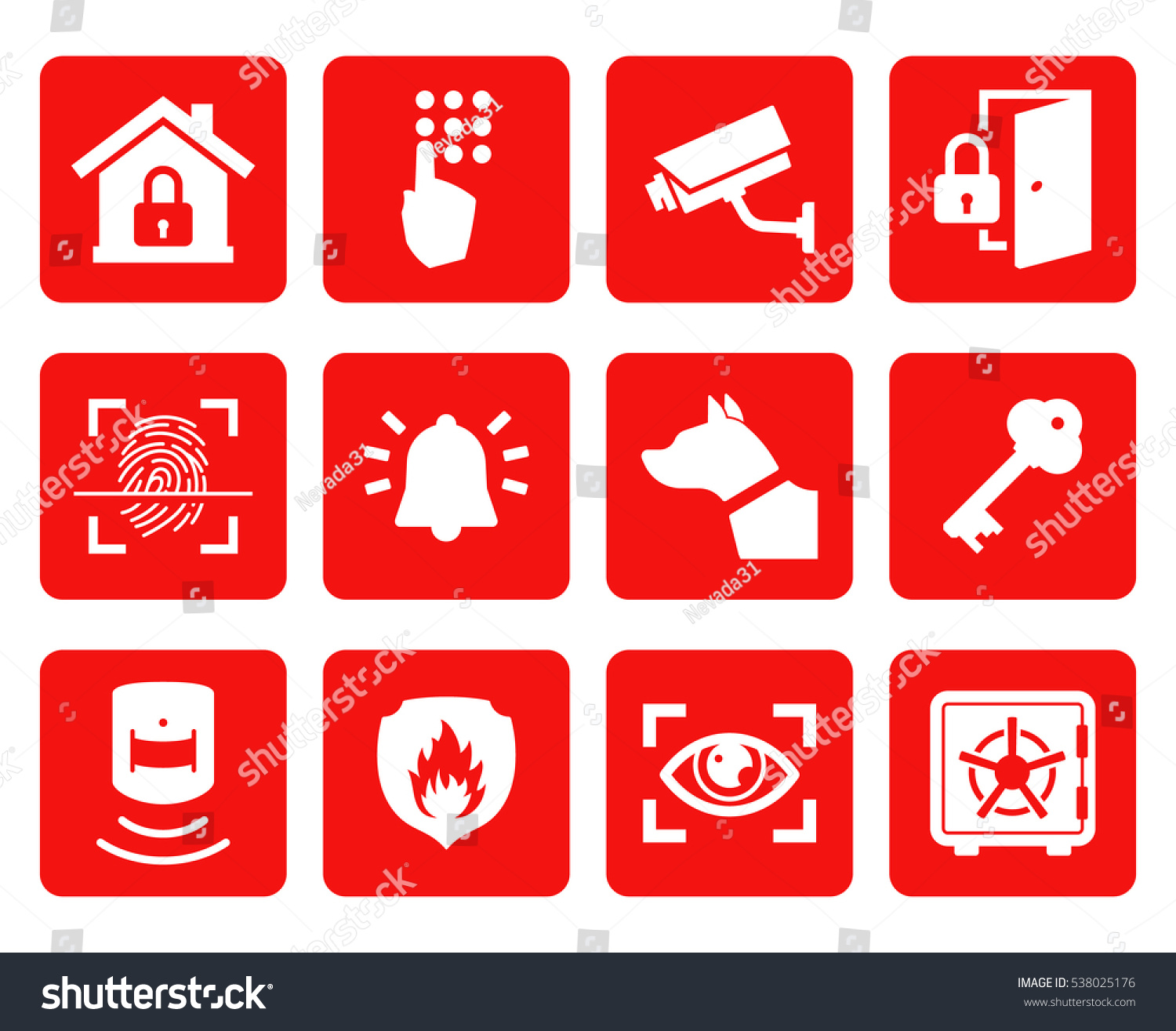 Home Security Icons Set Warning Signs Stock Vector Royalty Free