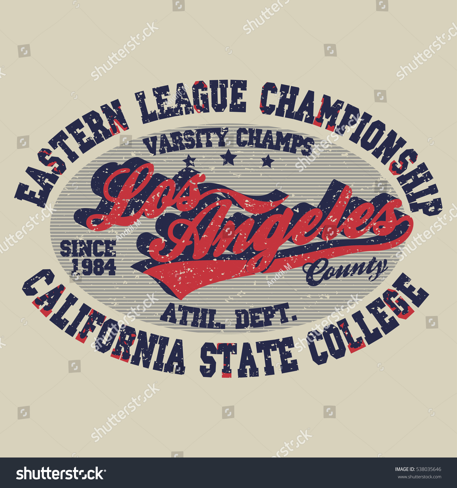 Sport Tshirt Los Angeles Print Vintage Stock Illustration